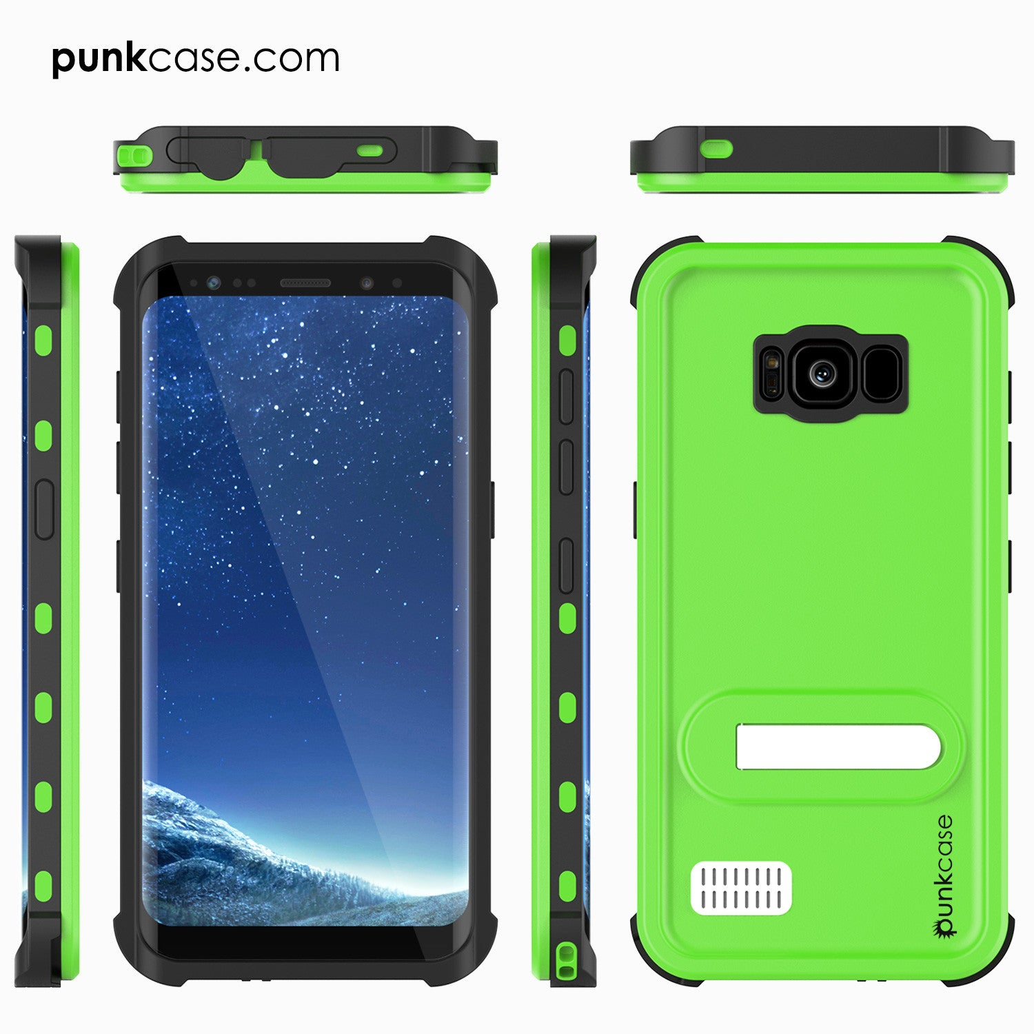 Galaxy S8 Plus Waterproof Case, Punkcase [KickStud Series] [Slim Fit] [IP68 Certified] [Shockproof] [Snowproof] Armor Cover [GREEN]