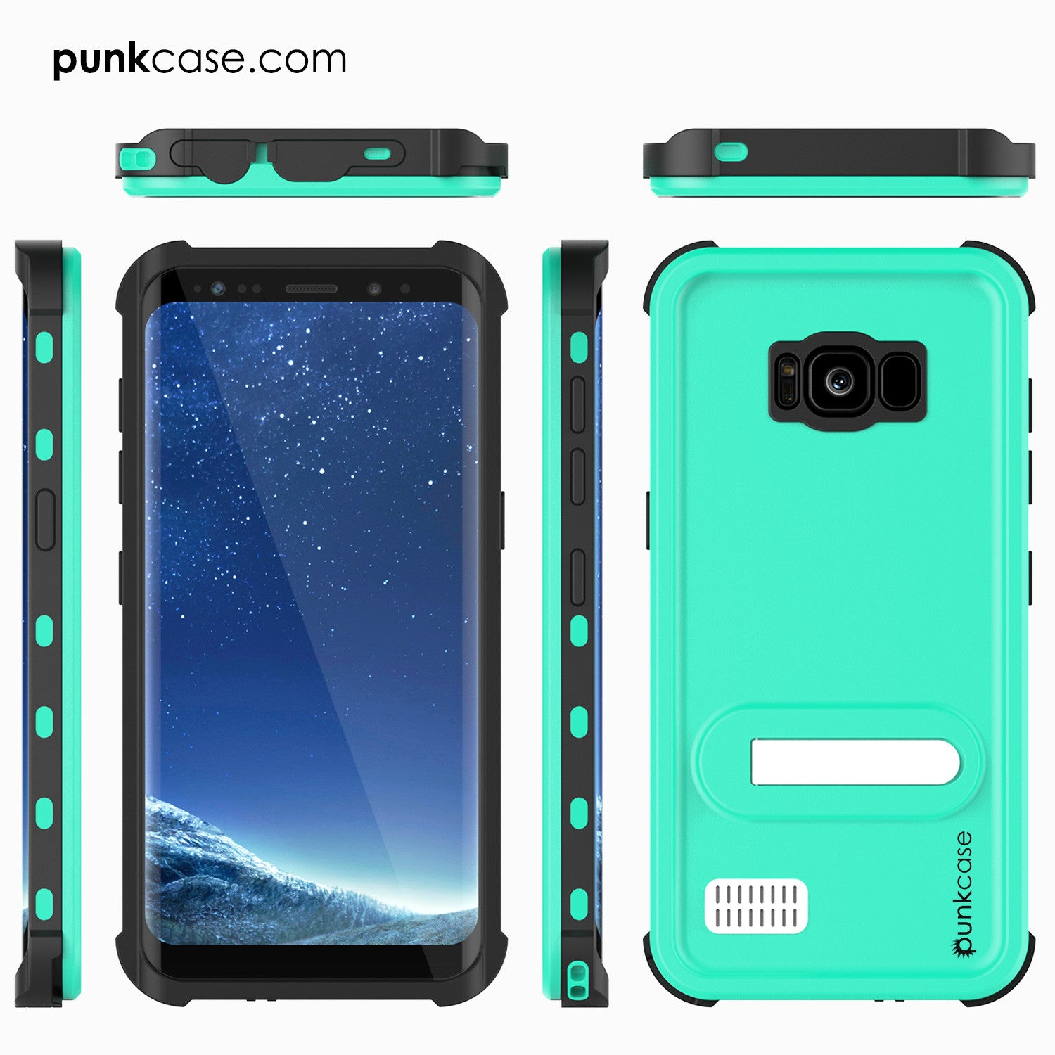 Galaxy S8 Plus Waterproof Case, Punkcase [KickStud Series] [Slim Fit] [IP68 Certified] [Shockproof] [Snowproof] Armor Cover [TEAL]