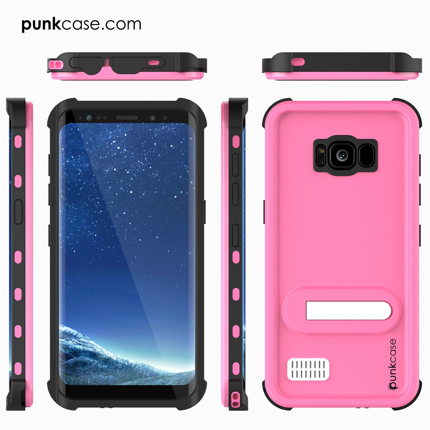 Galaxy S8 Plus Waterproof Case, Punkcase [KickStud Series] [Slim Fit] [IP68 Certified] [Shockproof] [Snowproof] Armor Cover [PINK]