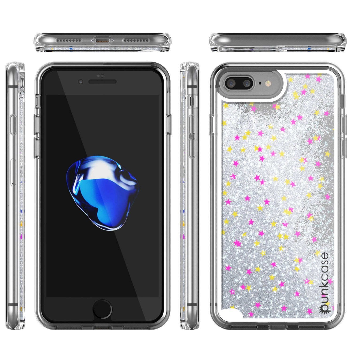 iPhone 7+Plus Case, PunkCase LIQUID Silver Series, Protective Dual Layer Floating Glitter Cover
