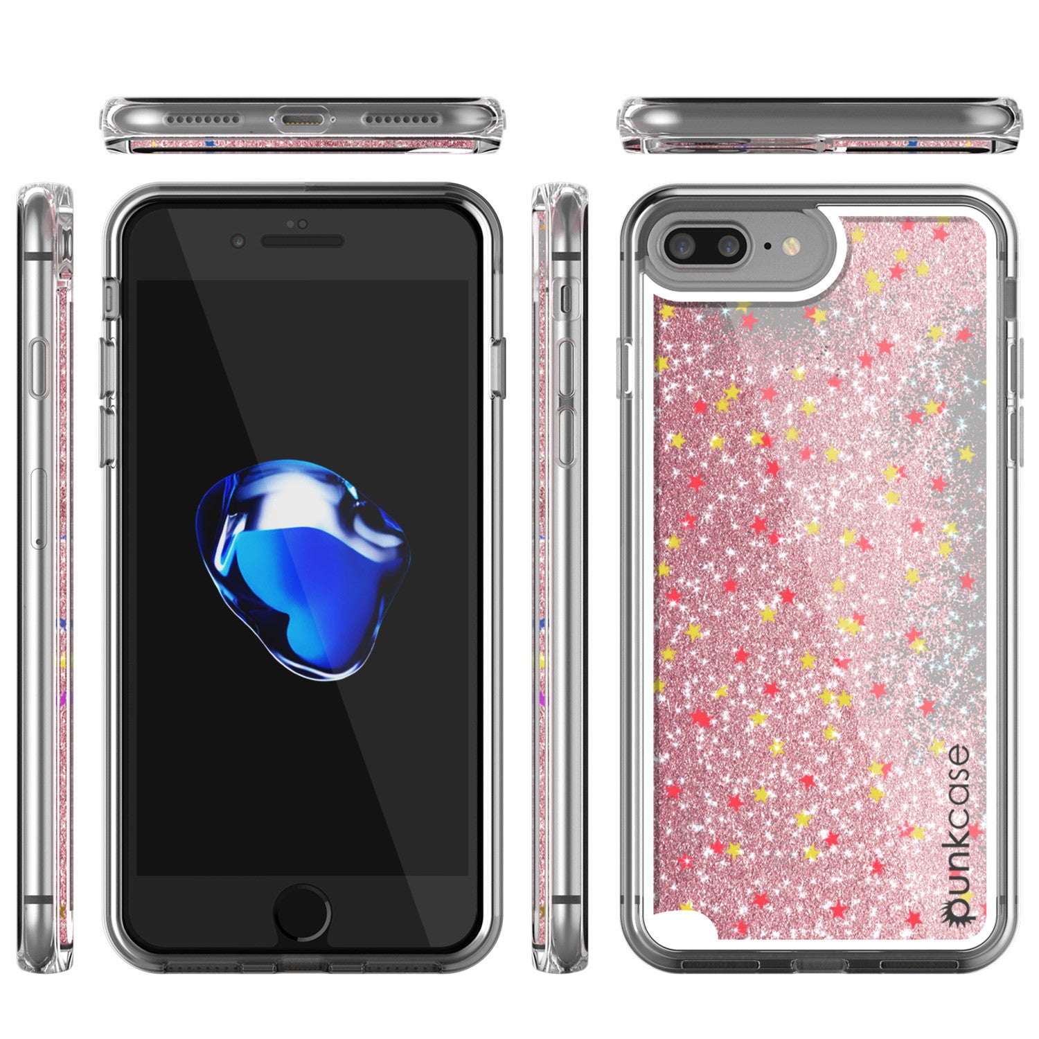 iPhone 7+Plus Case, PunkCase LIQUID Rose Series, Protective Dual Layer Floating Glitter Cover