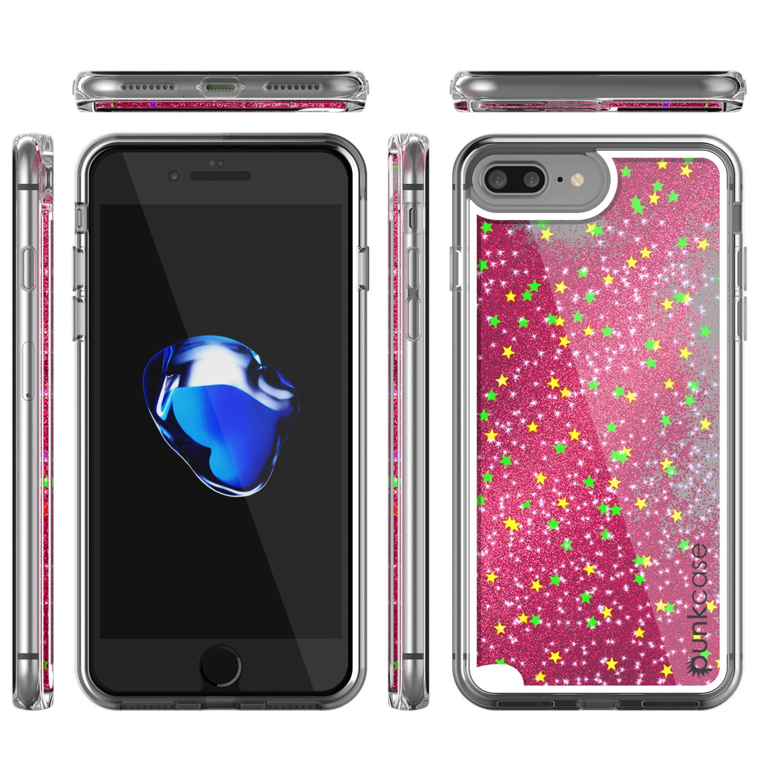 iPhone 7+Plus Case, PunkCase LIQUID Pink Series, Protective Dual Layer Floating Glitter Cover