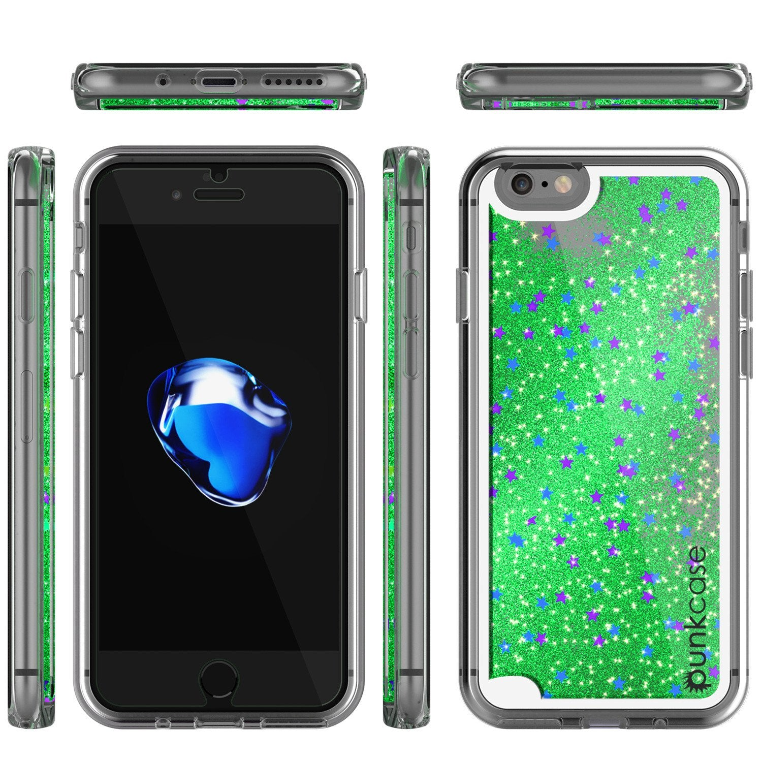iPhone 8 Case, PunkCase LIQUID Green Series, Protective Dual Layer Floating Glitter Cover