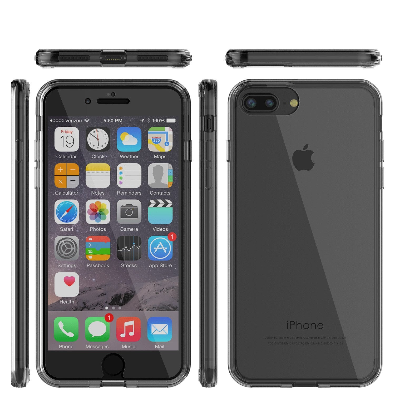 iPhone 8 Case Punkcase® LUCID 2.0 Crystal Black Series w/ PUNK SHIELD Screen Protector | Ultra Fit