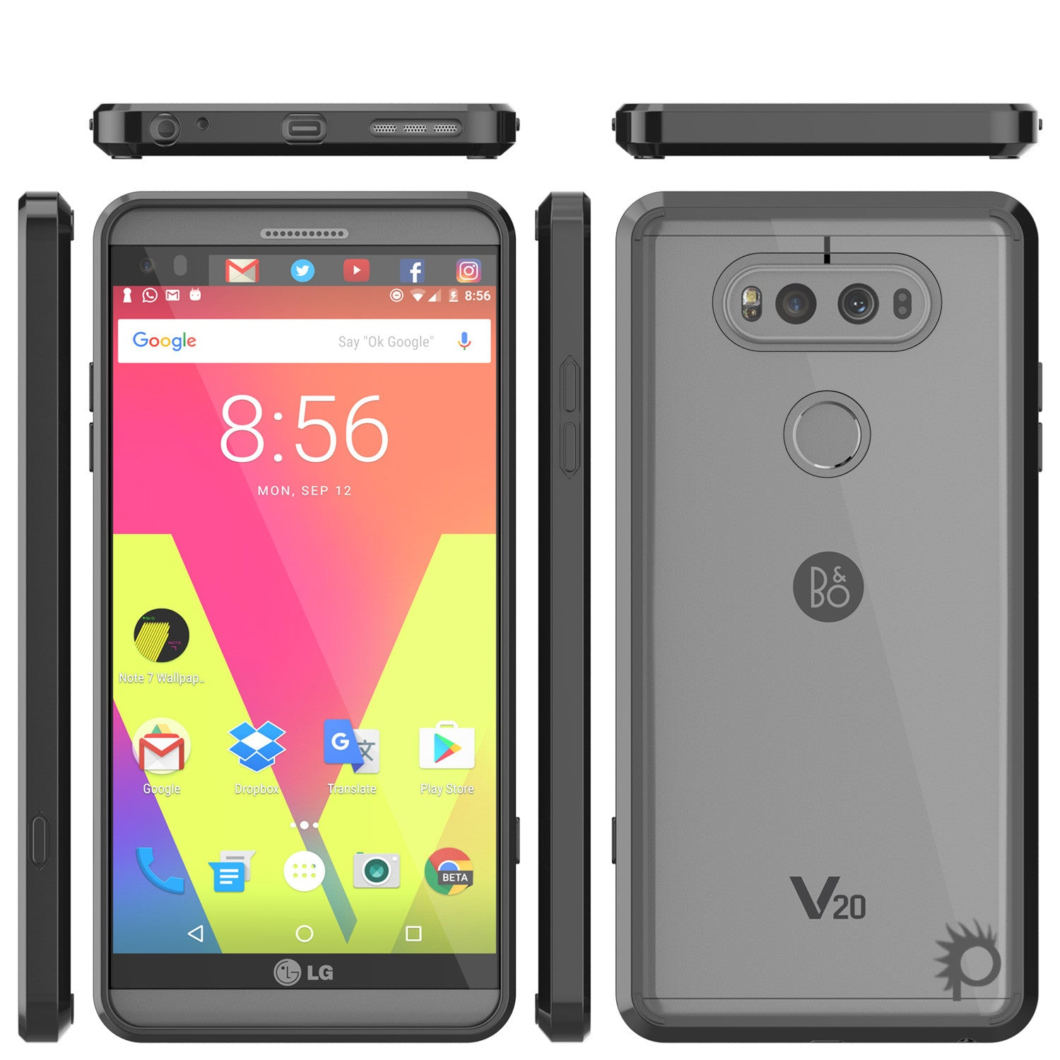 LG v20 Case Punkcase® LUCID 2.0 Black Series w/ PUNK SHIELD Glass Screen Protector | Ultra Fit
