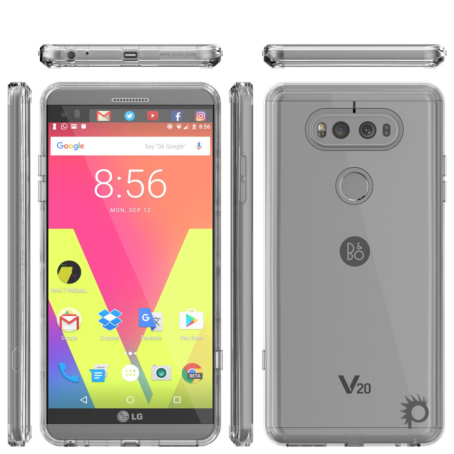 LG v20 Case Punkcase® LUCID 2.0 Clear Series w/ PUNK SHIELD Glass Screen Protector | Ultra Fit