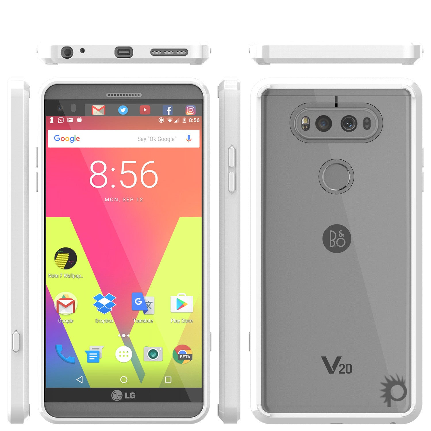 LG v20 Case Punkcase® LUCID 2.0 White Series w/ PUNK SHIELD Glass Screen Protector | Ultra Fit