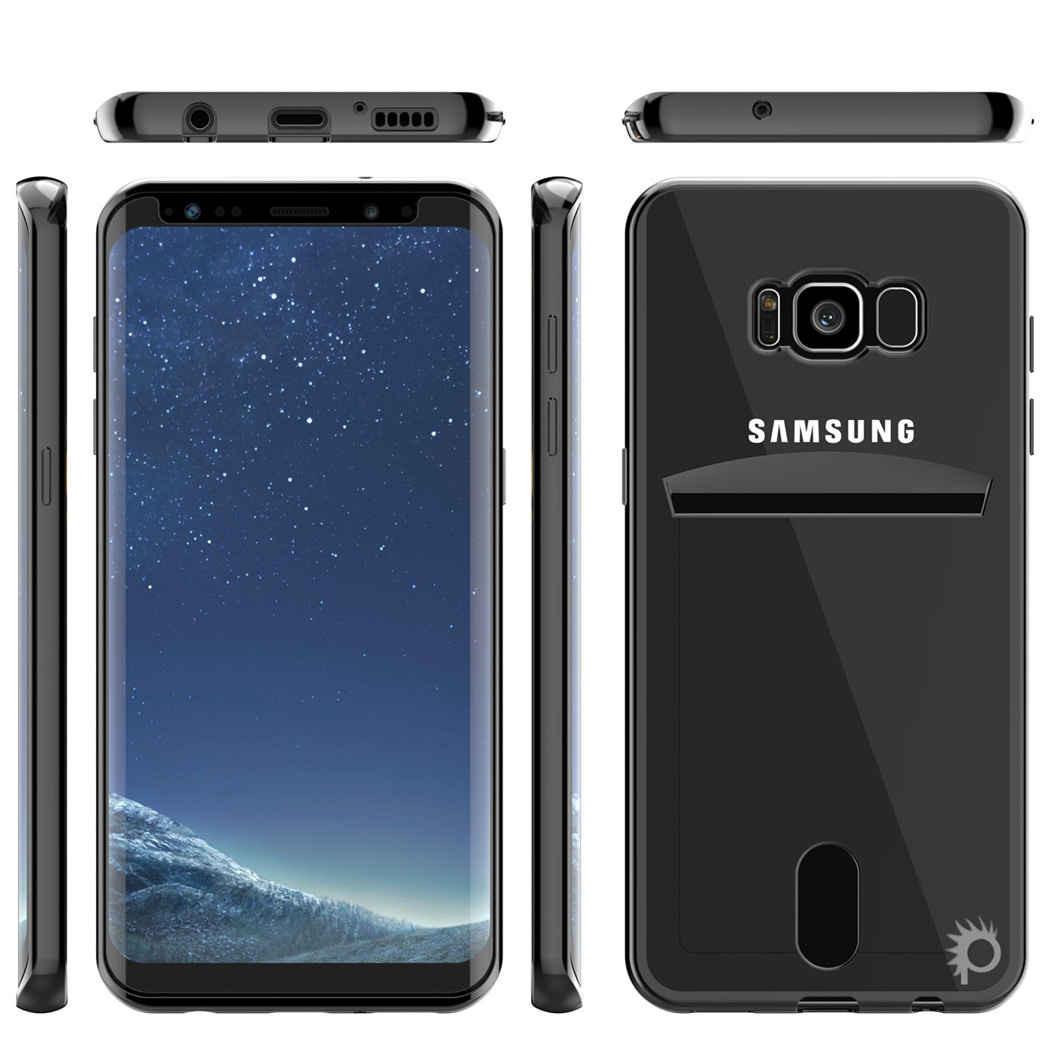 Galaxy S8 Case, PUNKCASE® LUCID Black Series | Card Slot | SHIELD Screen Protector | Ultra fit
