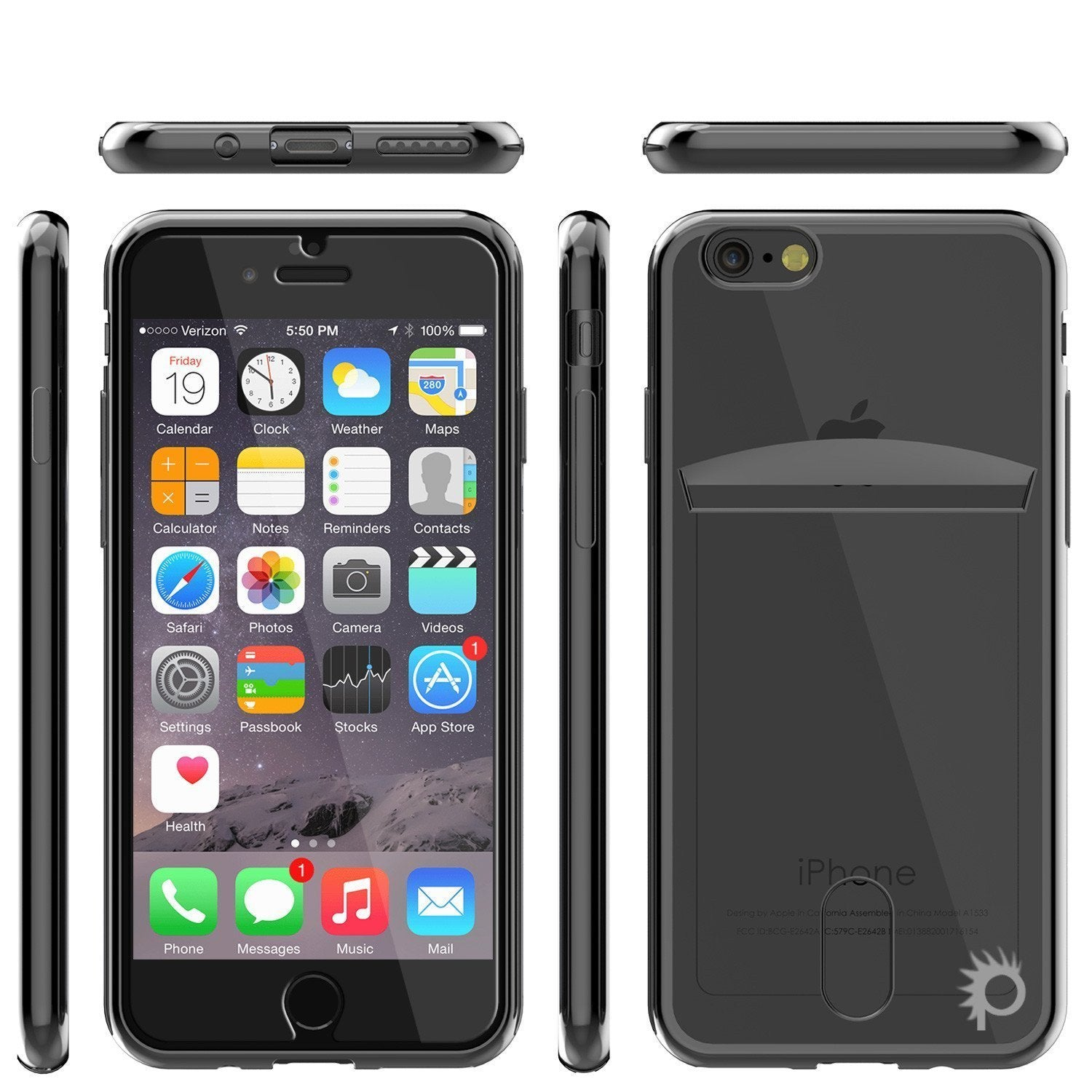 iPhone 8 Case, PUNKCASE® LUCID Black Series | Card Slot | SHIELD Screen Protector | Ultra fit