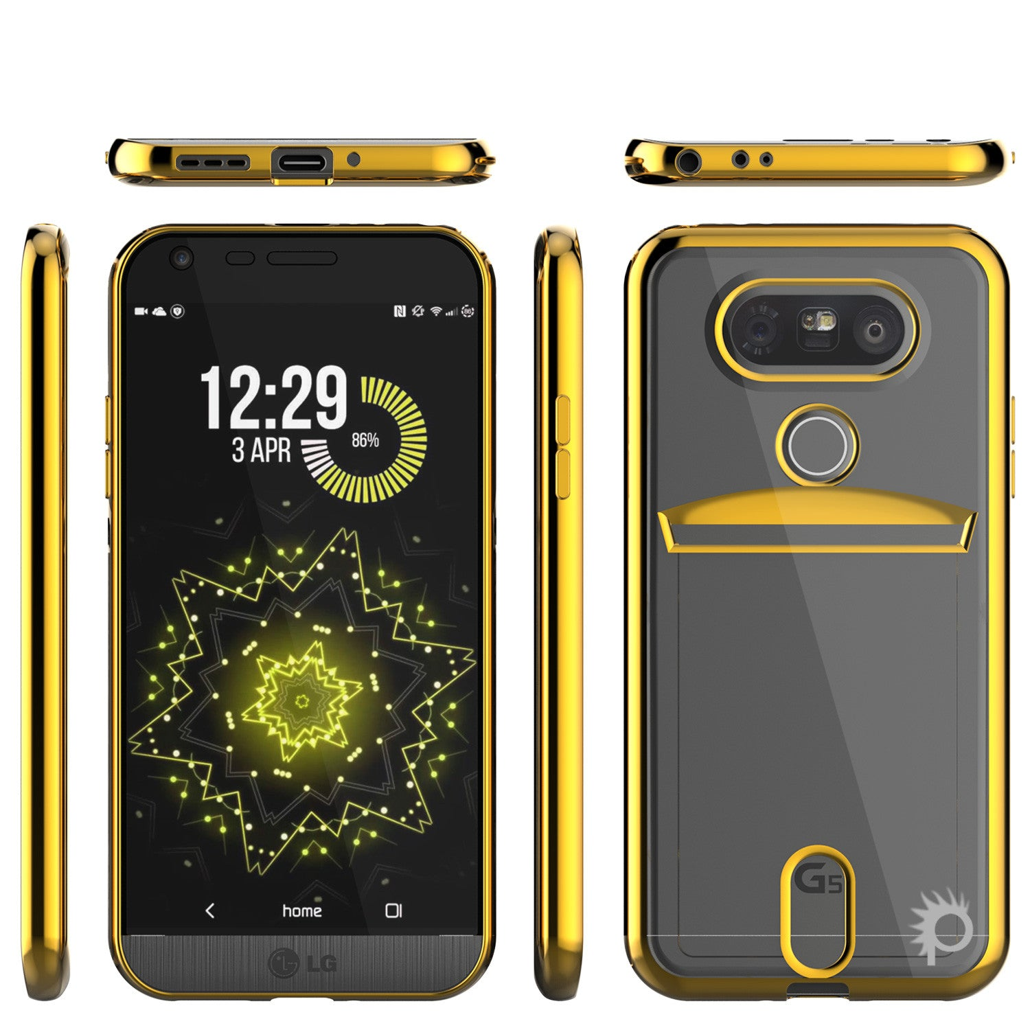 LG G5 Case, PUNKCASE® Gold LUCID Series | Card Slot | PUNK SHIELD Screen Protector | Ultra Fit