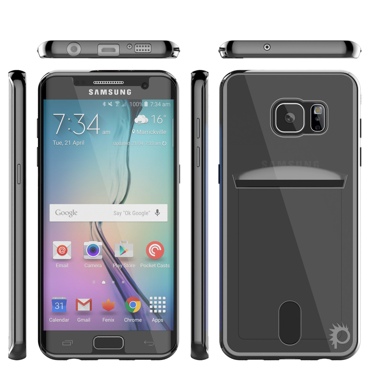 Galaxy S6 EDGE Case, PUNKCASE® LUCID Black Series | Card Slot | SHIELD Screen Protector | Ultra fit