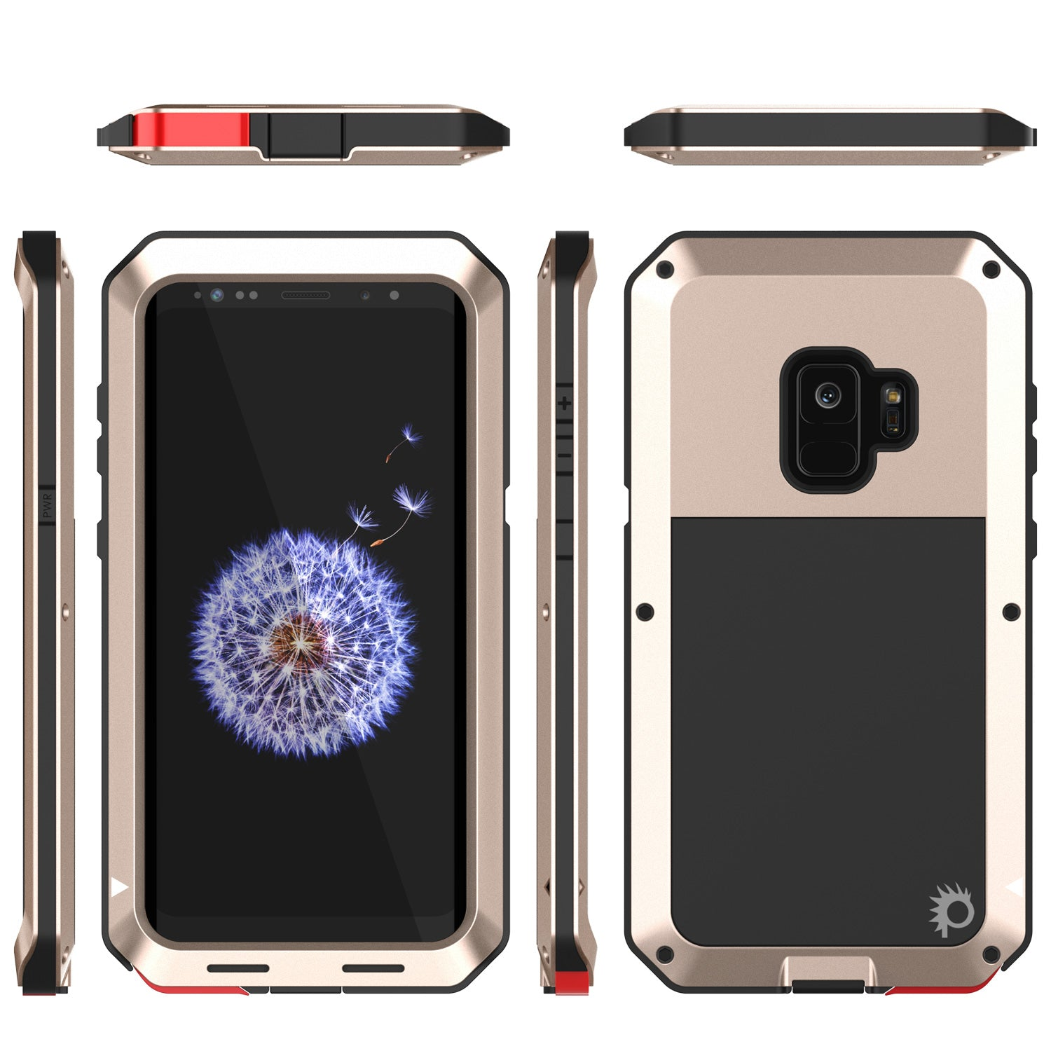 Galaxy S9 Metal Case, Heavy Duty Military Grade Rugged Armor Cover [Gold]