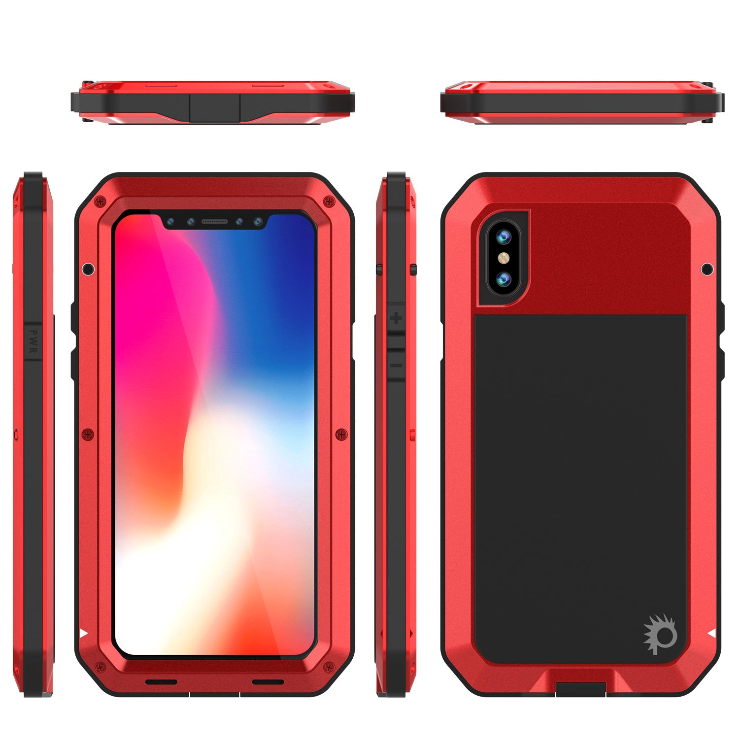 competitive price ab573 78746 iPhone X Metal Case, Heavy Duty Military Grade Rugged Armor Cover [Red]