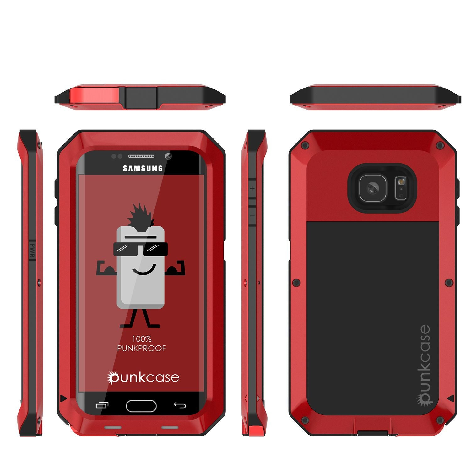 Galaxy S7 EDGE  Case, PUNKcase Metallic Red Shockproof  Slim Metal Armor Case
