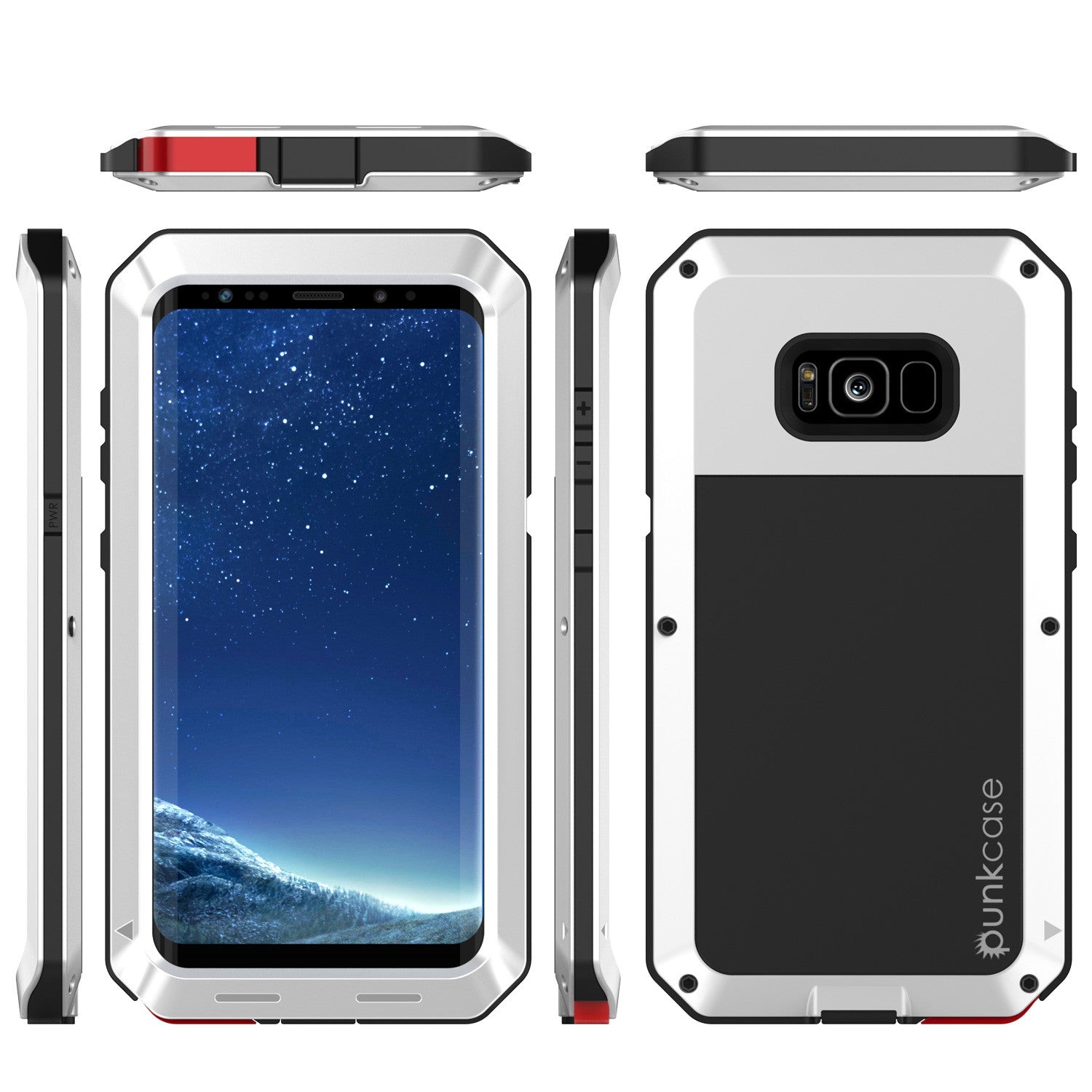 Galaxy S8+ Plus  Case, PUNKcase Metallic White Shockproof  Slim Metal Armor Case [White]