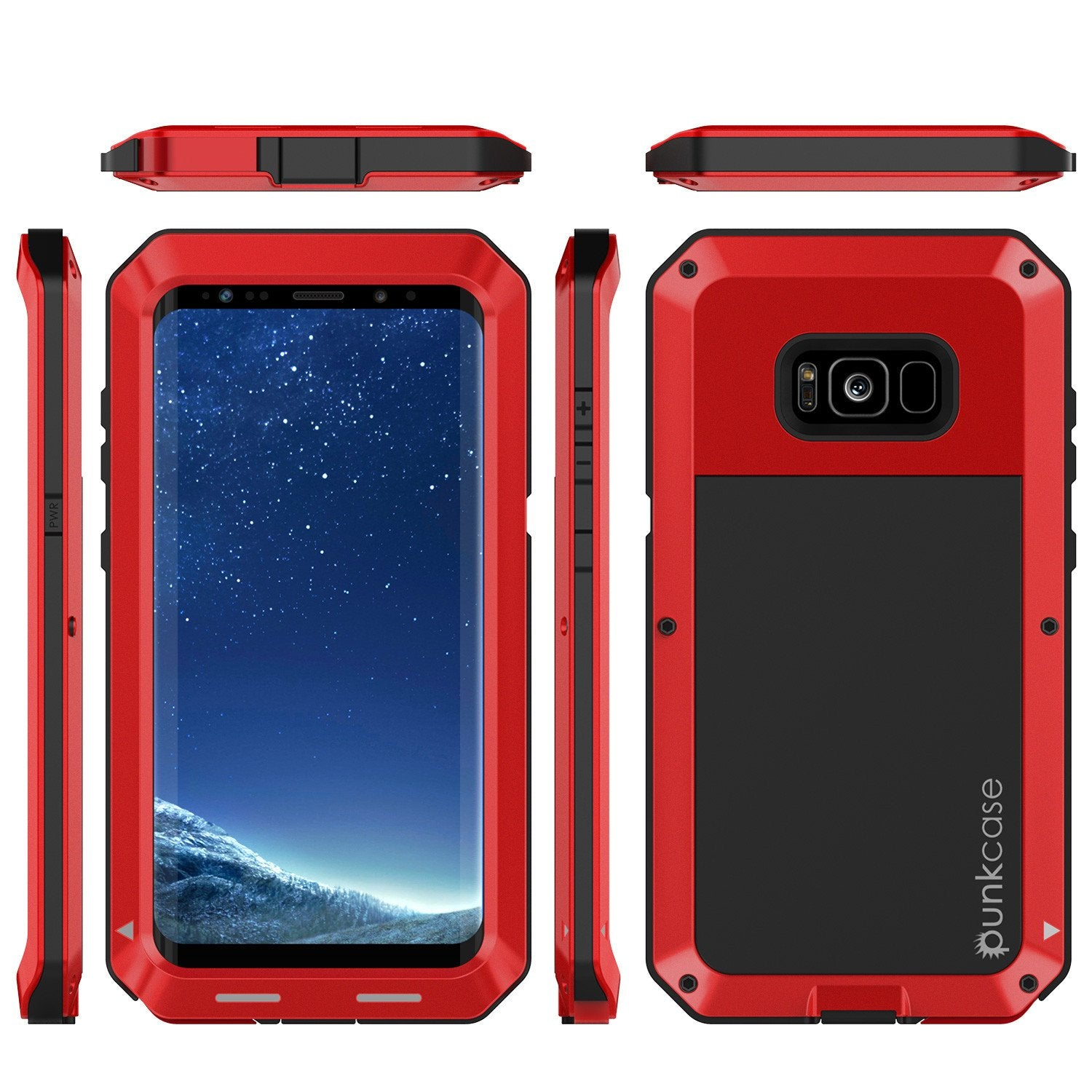 Galaxy Note 8  Case, PUNKcase Metallic Red Shockproof  Slim Metal Armor Case [Red]