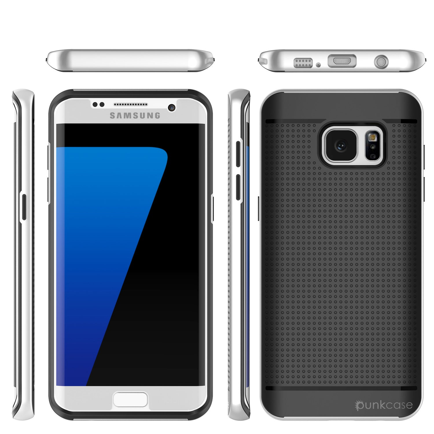 Galaxy S7 Edge Case, PunkCase STEALTH Silver Series Hybrid 3-Piece Shockproof Dual Layer Cover