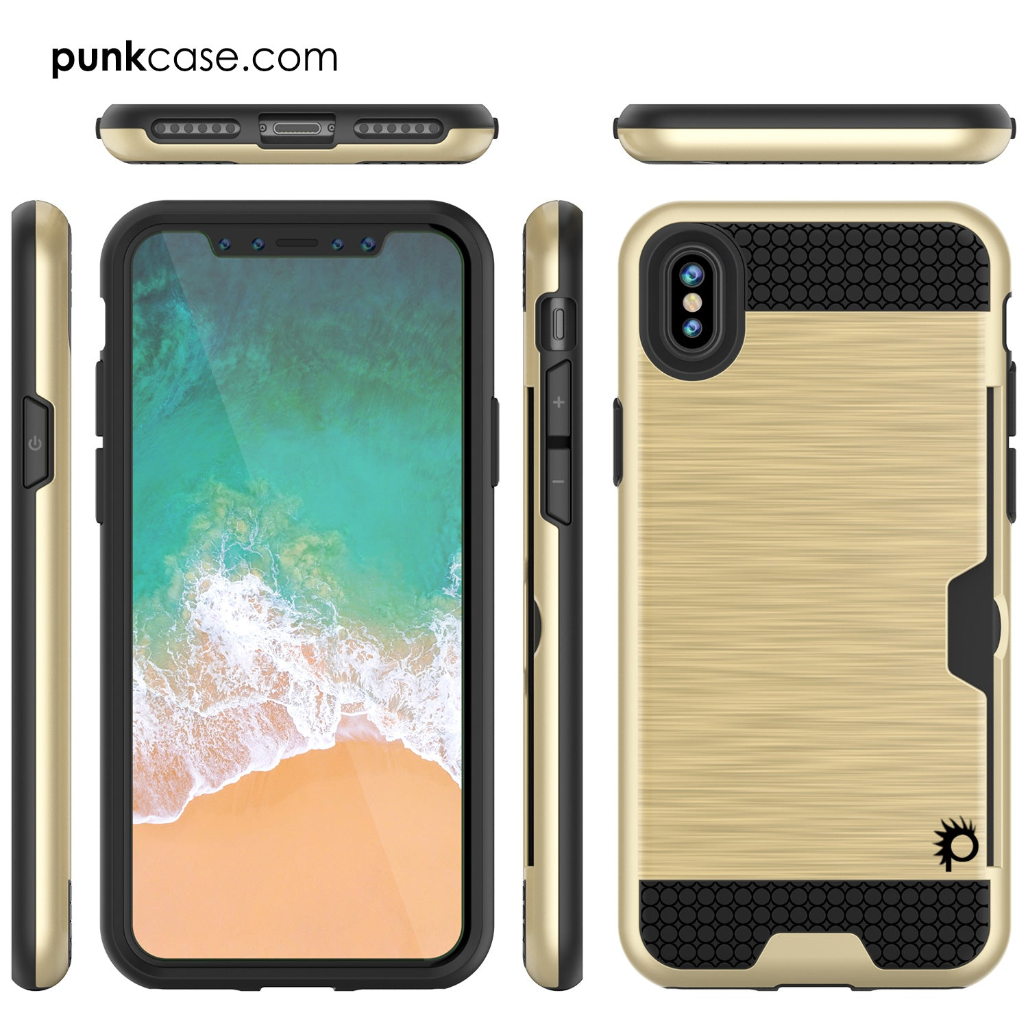 iPhone X Case, PUNKcase [SLOT Series] Slim Fit Dual-Layer Armor Cover [Gold]