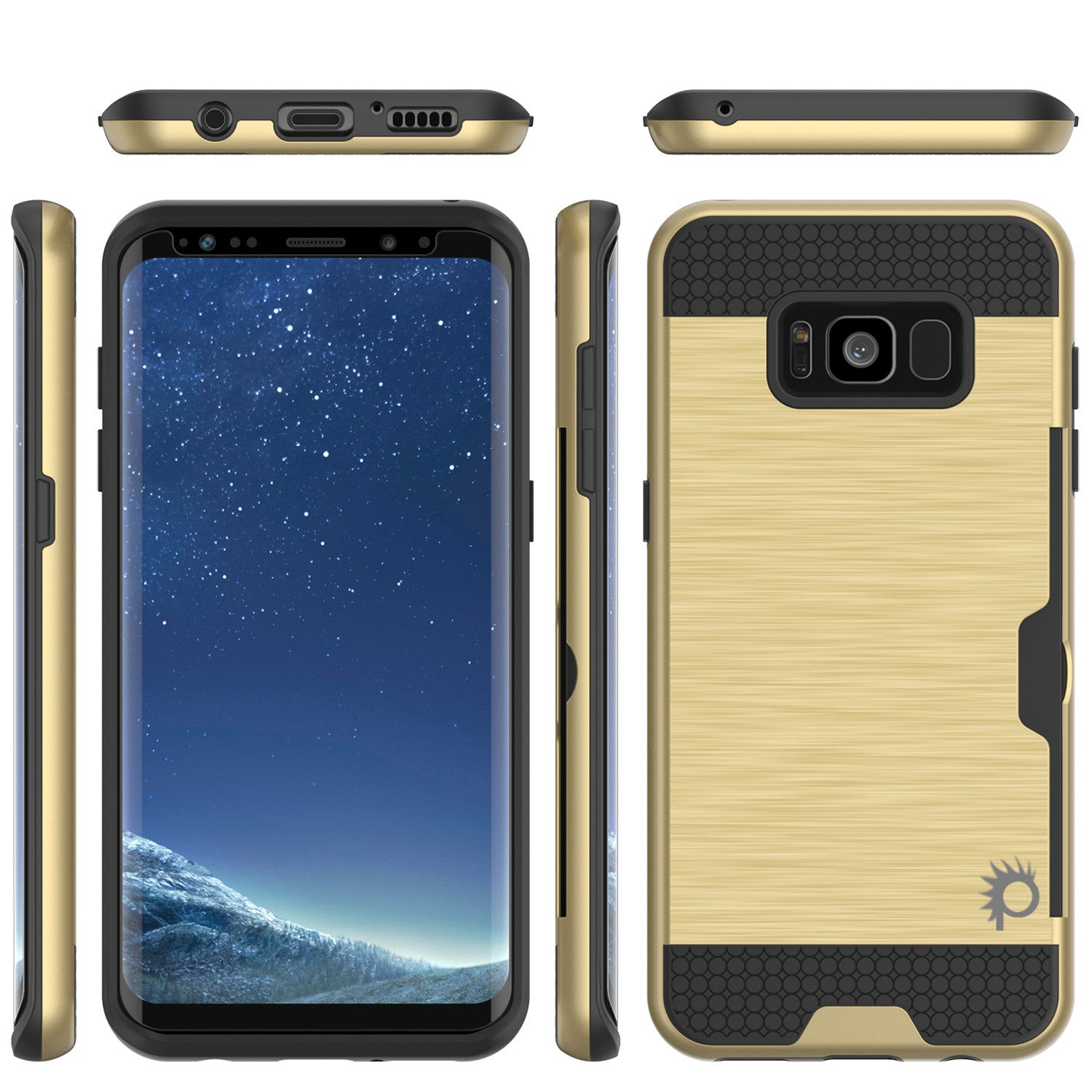 Galaxy S8 Case, PUNKcase [SLOT Series] [Slim Fit] Dual-Layer Armor Cover w/Integrated Anti-Shock System, Credit Card Slot & PUNKSHIELD Screen Protector for Samsung Galaxy S8 [Gold]
