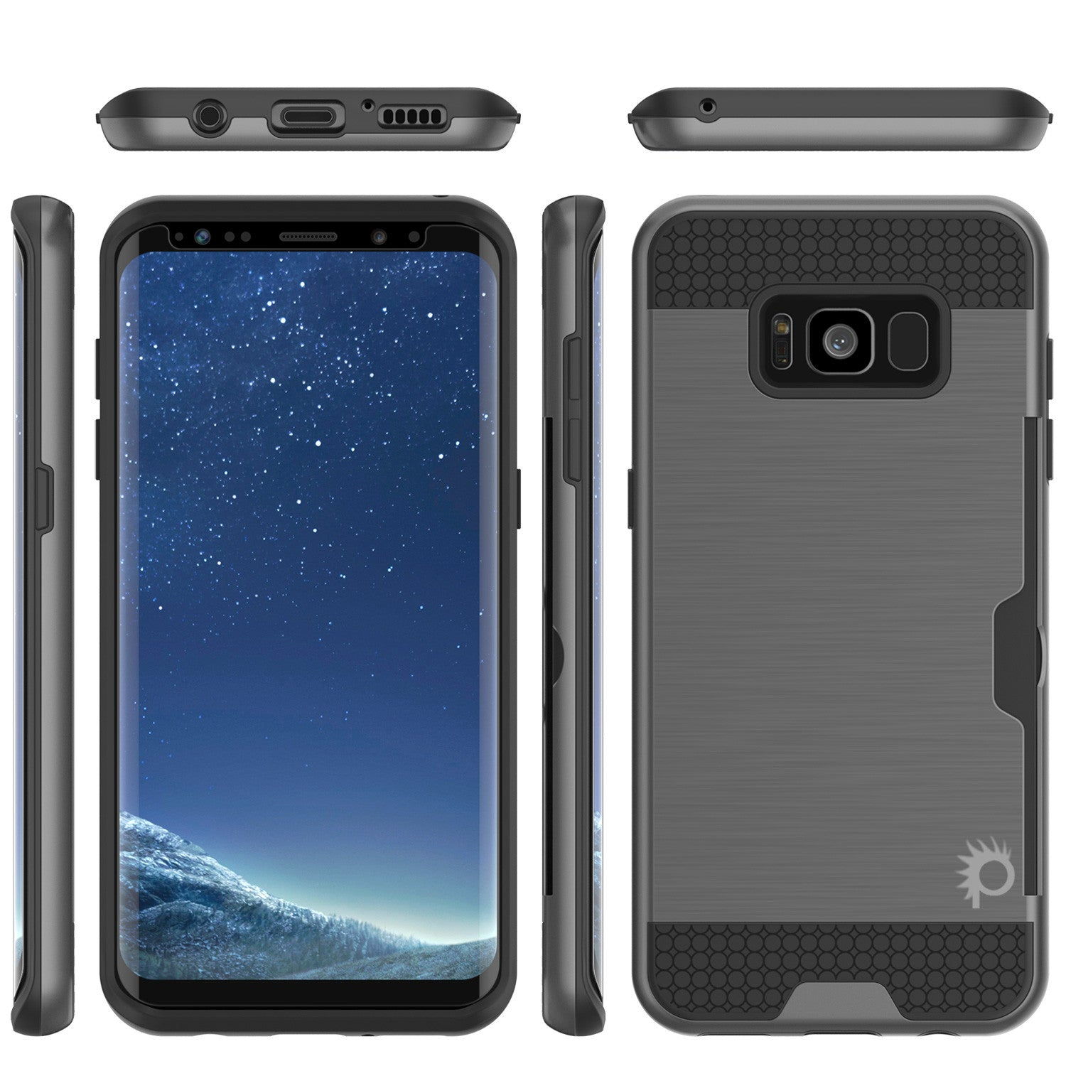 Galaxy S8 Plus Case, PUNKcase [SLOT Series] [Slim Fit] Dual-Layer Armor Cover w/Integrated Anti-Shock System, Credit Card Slot & PunkShield Screen Protector for Samsung Galaxy S8+ [Grey]