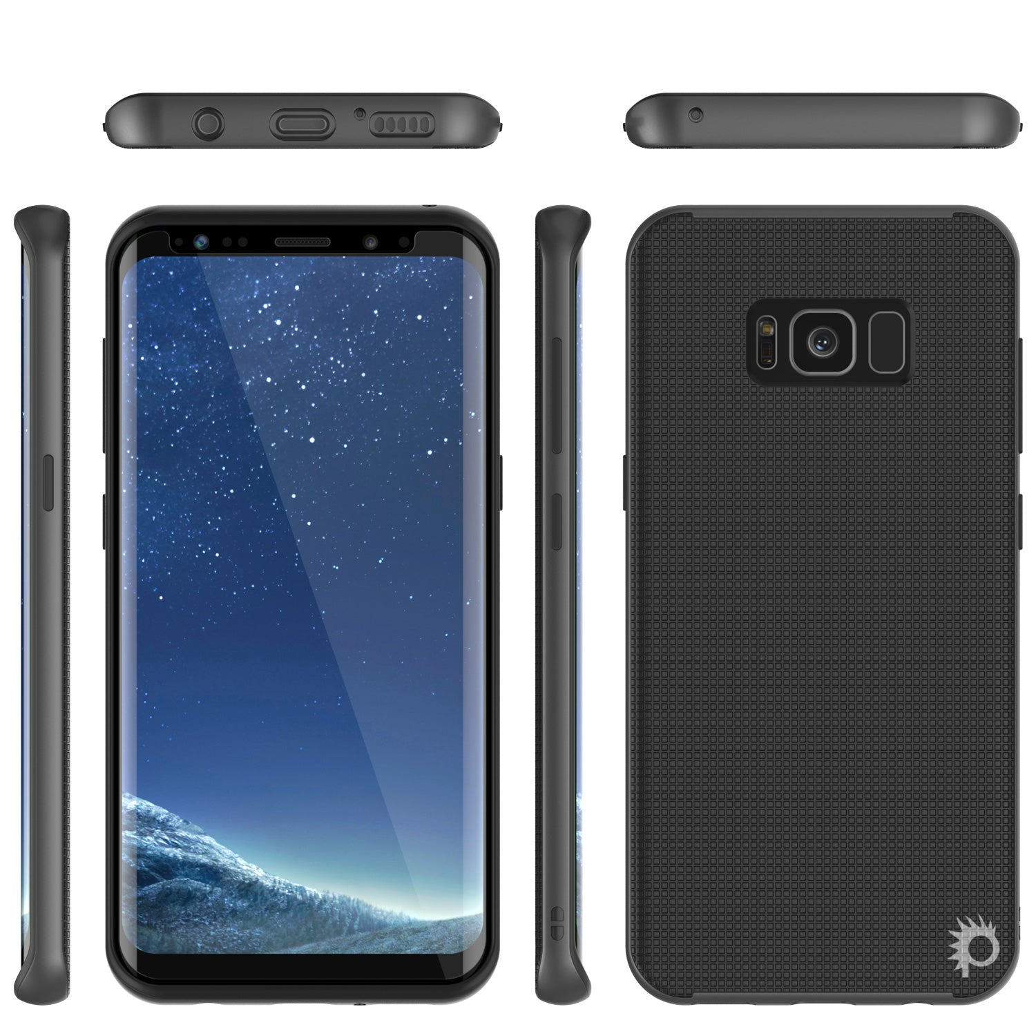 Galaxy S8 Case, PunkCase Stealth Grey Series Hybrid 3-Piece Shockproof Dual Layer Cover