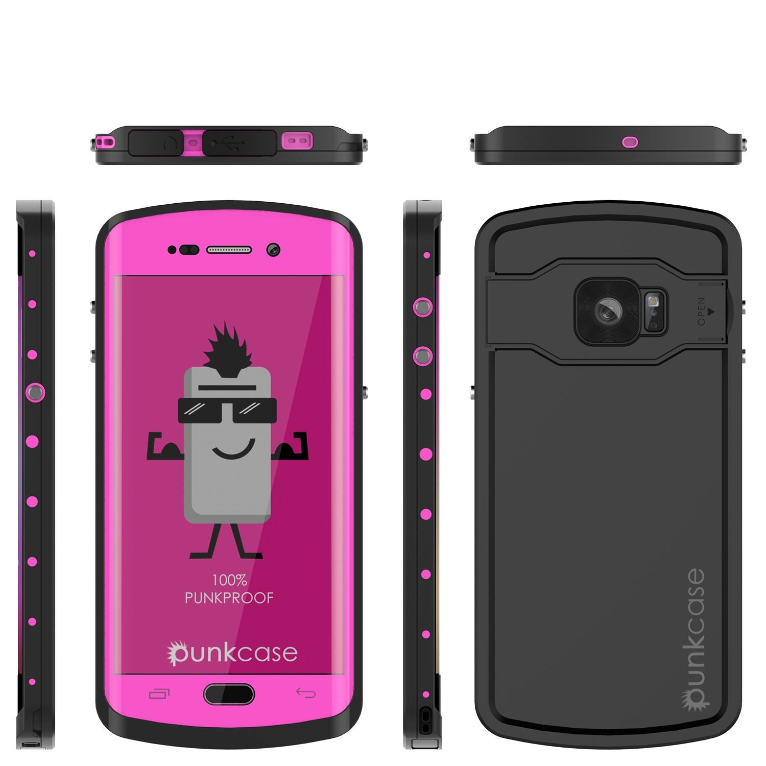 Galaxy s6 EDGE Plus Waterproof Case, Punkcase StudStar Pink Shock/DirtProof | Lifetime Warranty