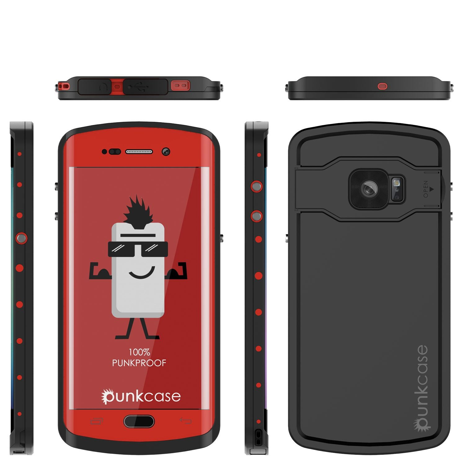 Galaxy s6 EDGE Plus Waterproof Case, Punkcase StudStar Red Water/Shock Proof | Lifetime Warranty