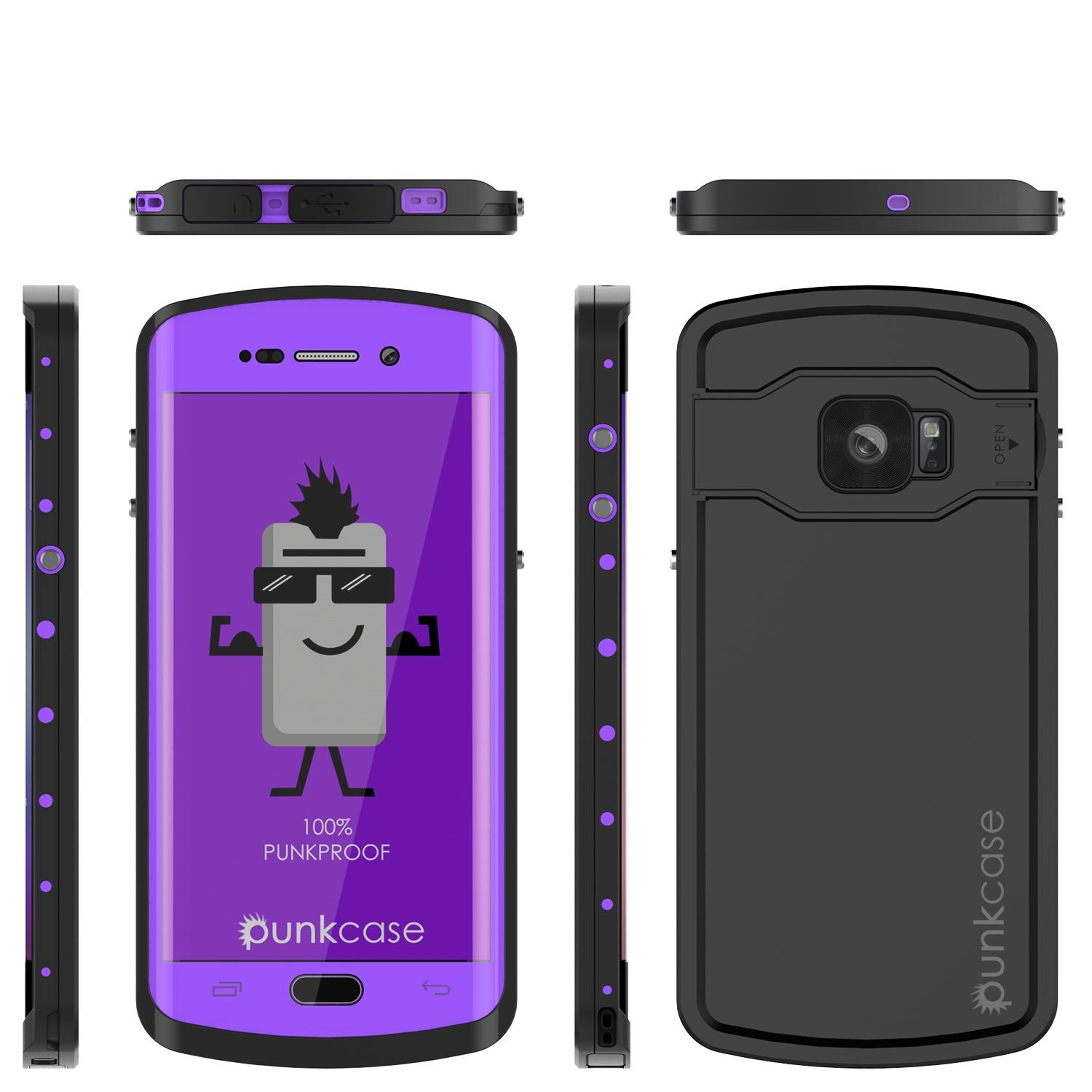 Galaxy s6 EDGE Plus Waterproof Case, Punkcase StudStar Purple Water/Shock Proof | Lifetime Warranty