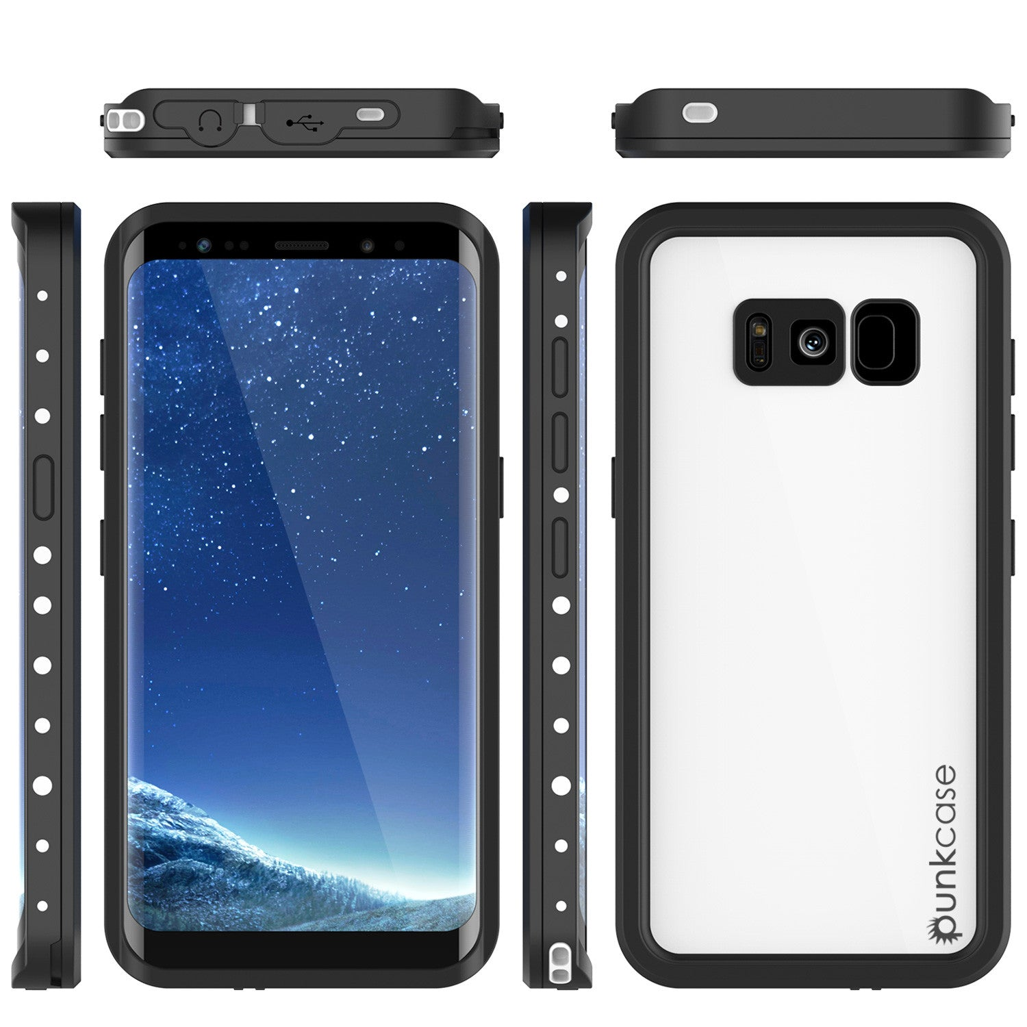 Galaxy S8 Plus Waterproof Case, Punkcase StudStar White Thin 6.6ft Underwater IP68 Shock/Snow Proof