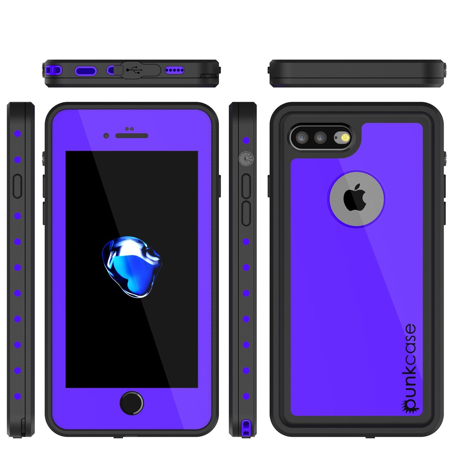 iPhone 8+ Plus Waterproof IP68 Case, Punkcase [Purple] [StudStar Series] [Slim Fit] [Dirtproof]