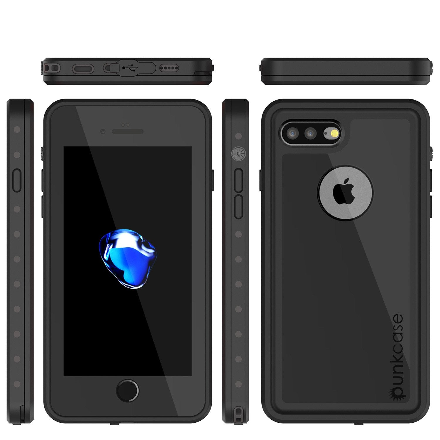 iPhone 8+ Plus Waterproof IP68 Case, Punkcase [Black] [StudStar Series] [Slim Fit] [Dirtproof]