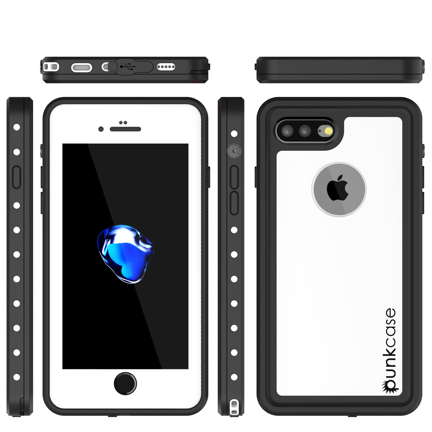 iPhone 7+ Plus Waterproof IP68 Case, Punkcase [White] [StudStar Series] [Slim Fit] [Dirtproof]