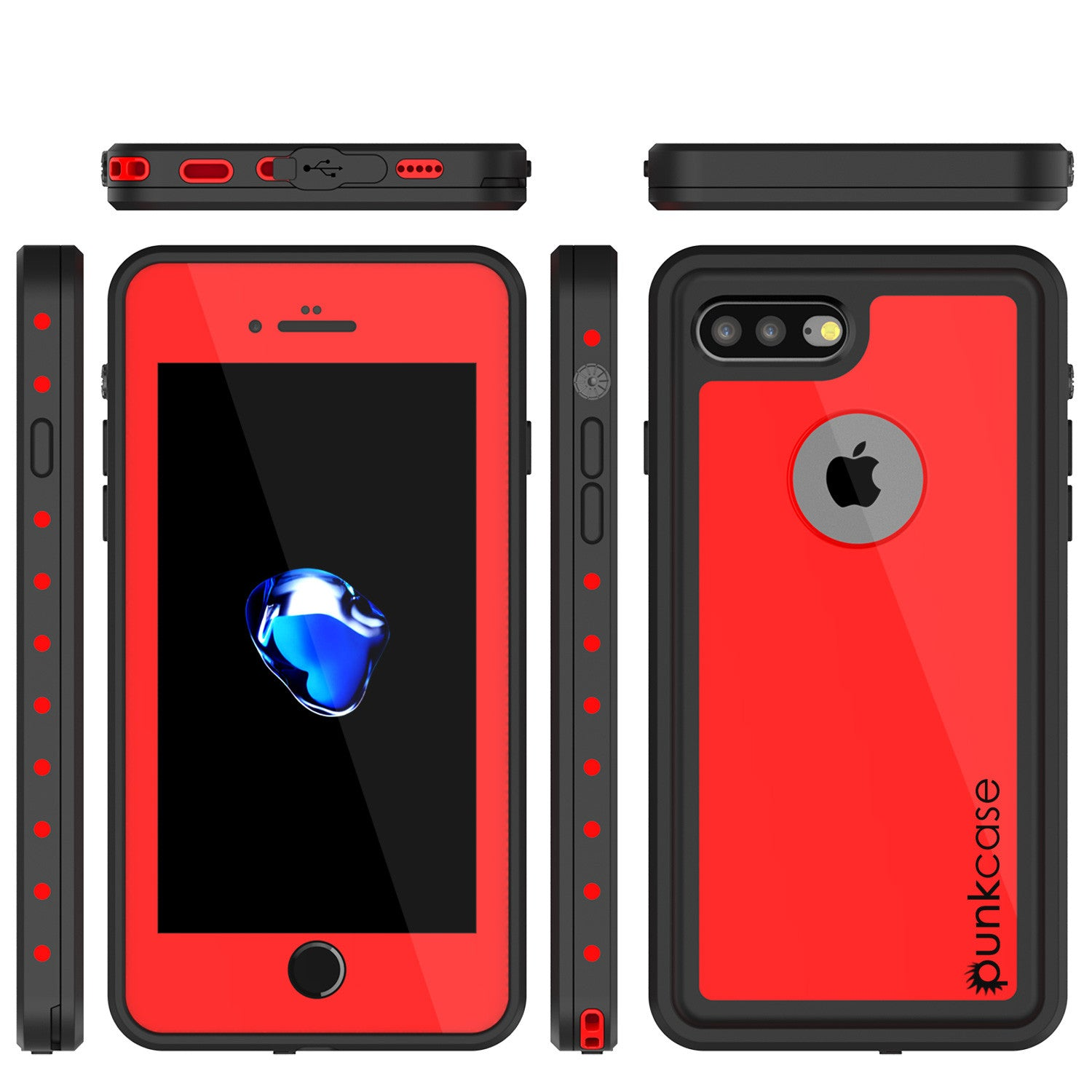 iPhone 7+ Plus Waterproof IP68 Case, Punkcase [Red] [StudStar Series] [Slim Fit] [Dirtproof]