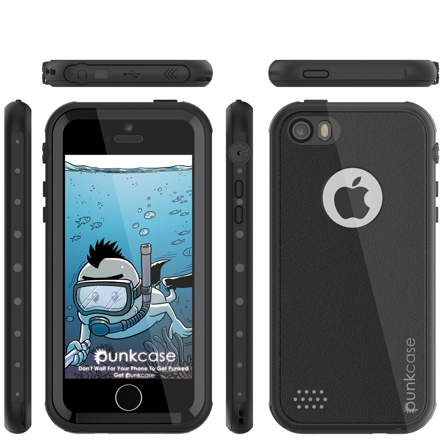 iPhone SE/5S/5 Waterproof Case, PunkCase StudStar Black, Shock/Dirt/Snow Proof | Lifetime Warranty
