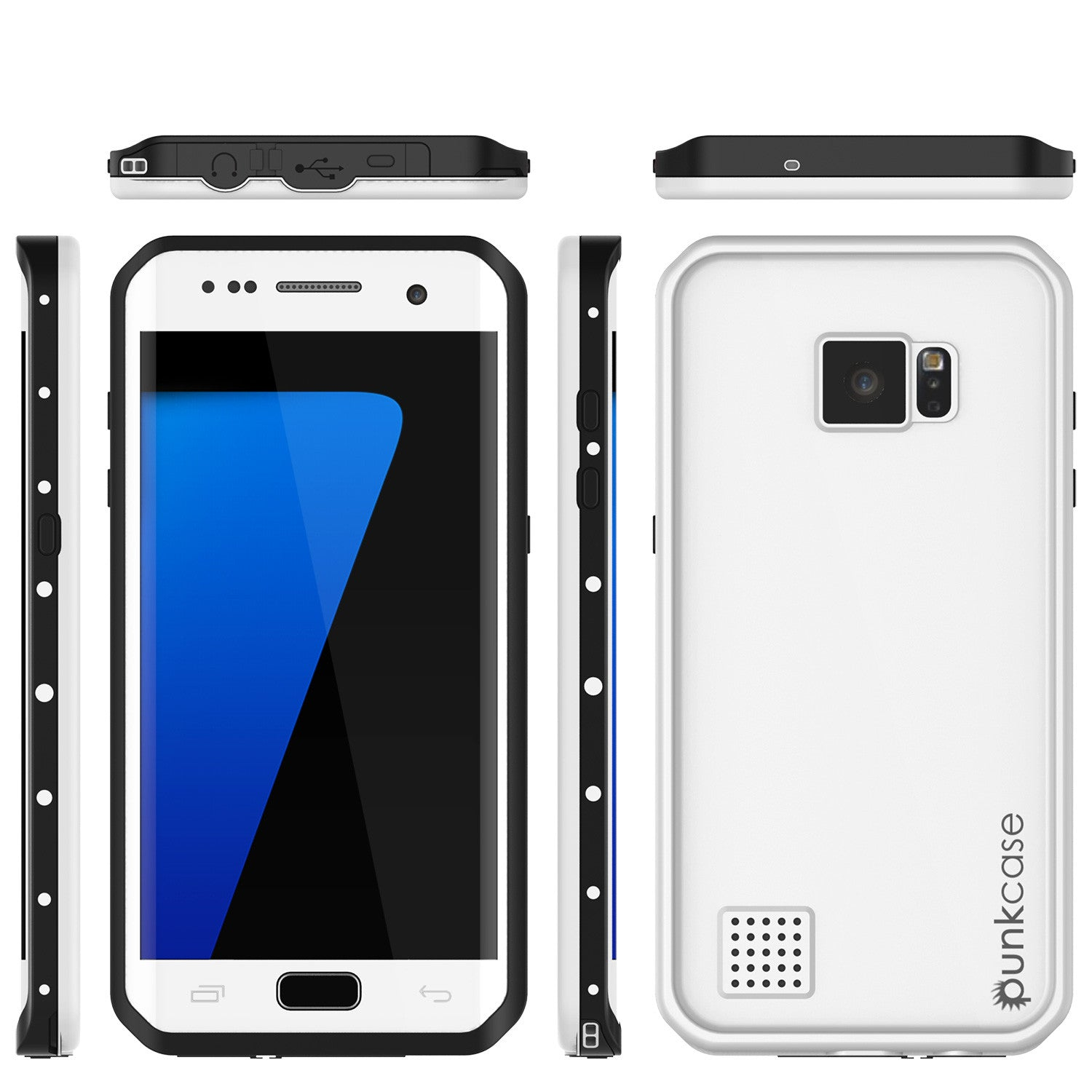 Galaxy S7 EDGE Waterproof Case, Punkcase StudStar White Thin 6.6ft Underwater IP68 Shock/Snow Proof