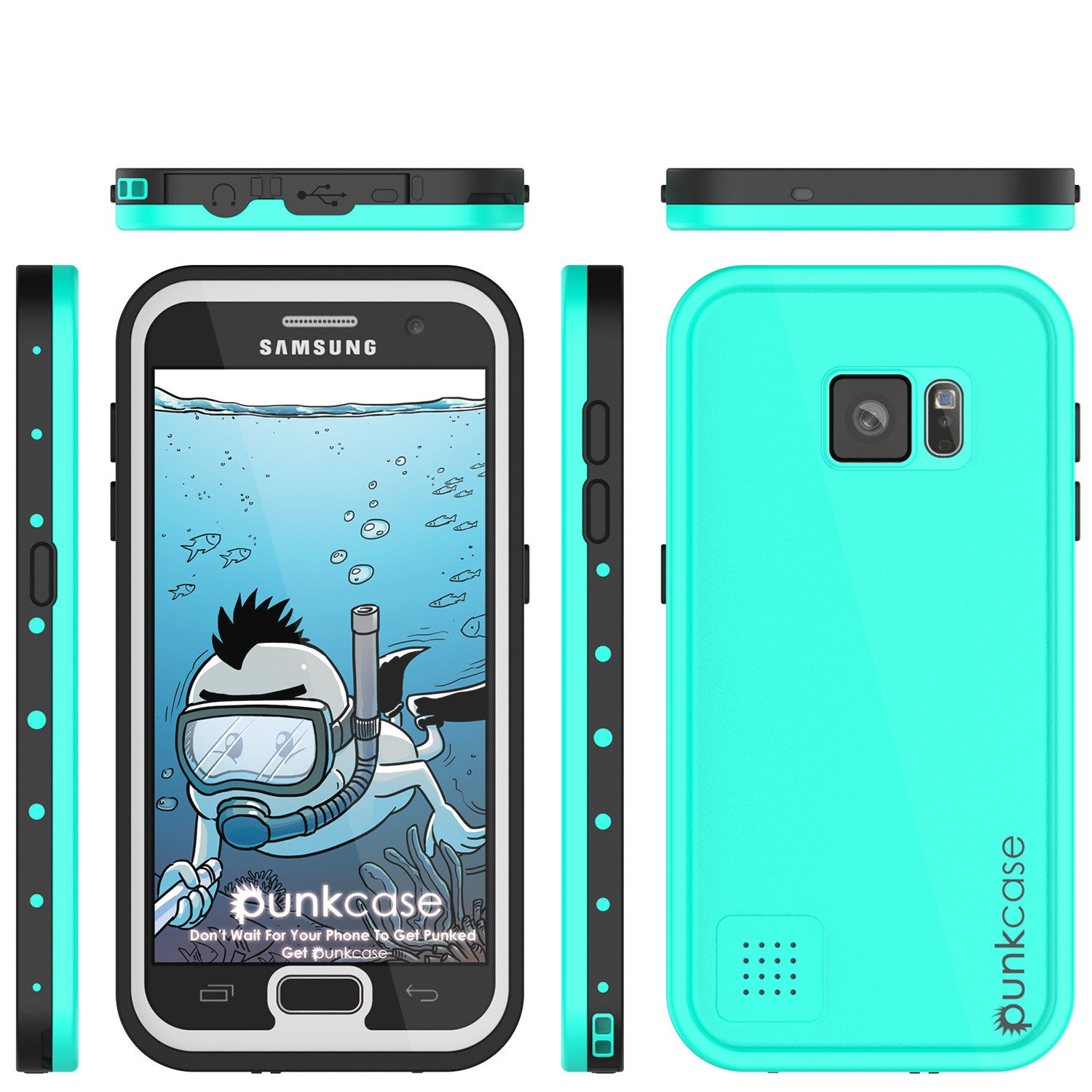 Galaxy S7 Waterproof Case PunkCase StudStar Teal Thin 6.6ft Underwater IP68 Shock/Dirt/Snow Proof