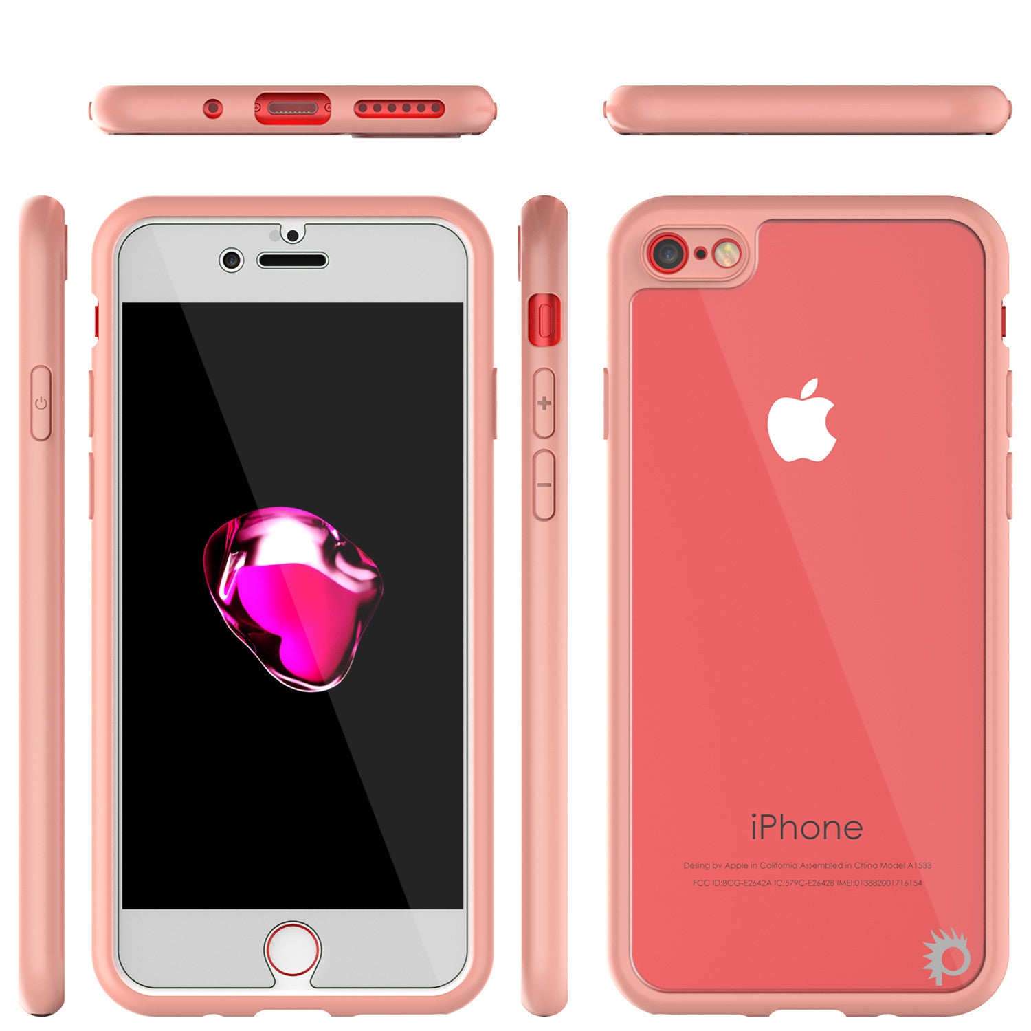 iPhone 7 Case [MASK Series] [PINK] Full Body Hybrid Dual Layer TPU Cover W/ protective Tempered Glass Screen Protector