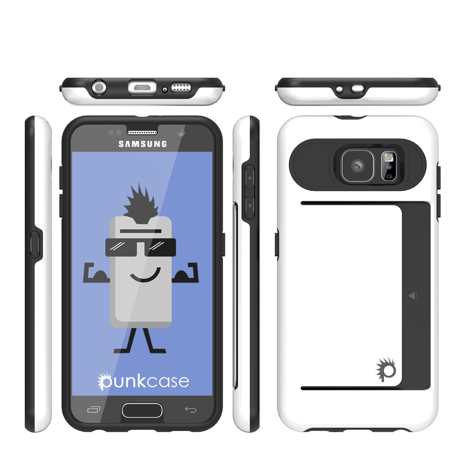 Galaxy S6 EDGE Case PunkCase CLUTCH White Series Slim Armor Soft Cover Case w/ Screen Protector