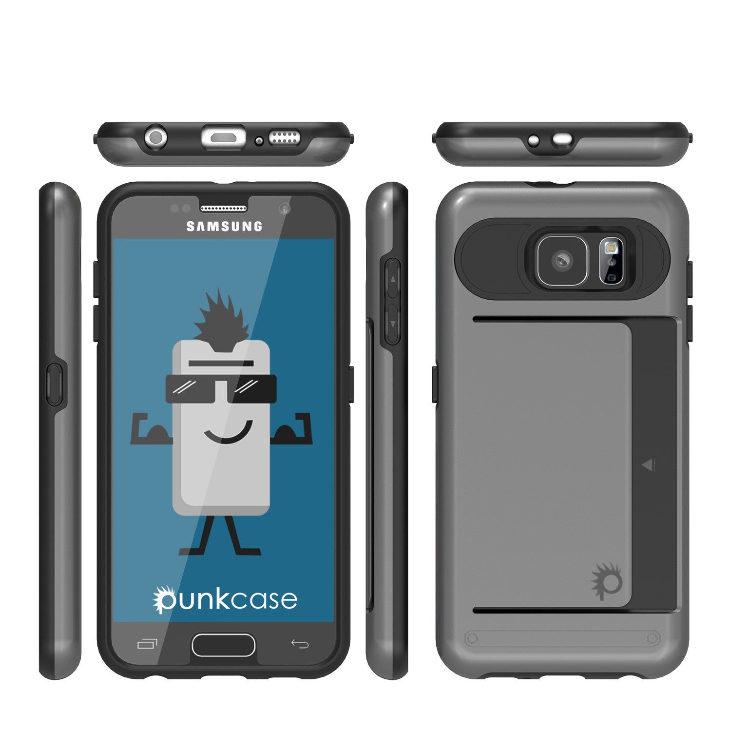 Galaxy S6 EDGE Plus Case PunkCase CLUTCH Grey Series Slim Armor Soft Cover Case w/ Screen Protector