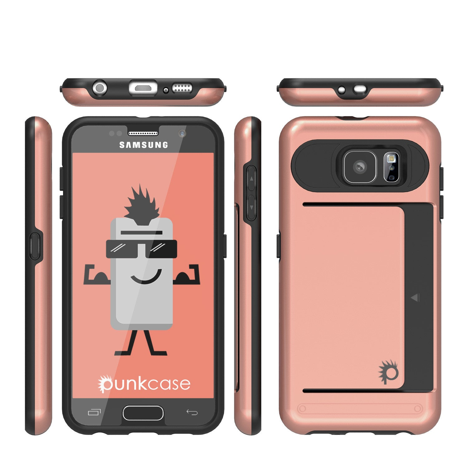 Galaxy s6 Case PunkCase CLUTCH Rose Gold Series Slim Armor Soft Cover Case w/ Tempered Glass