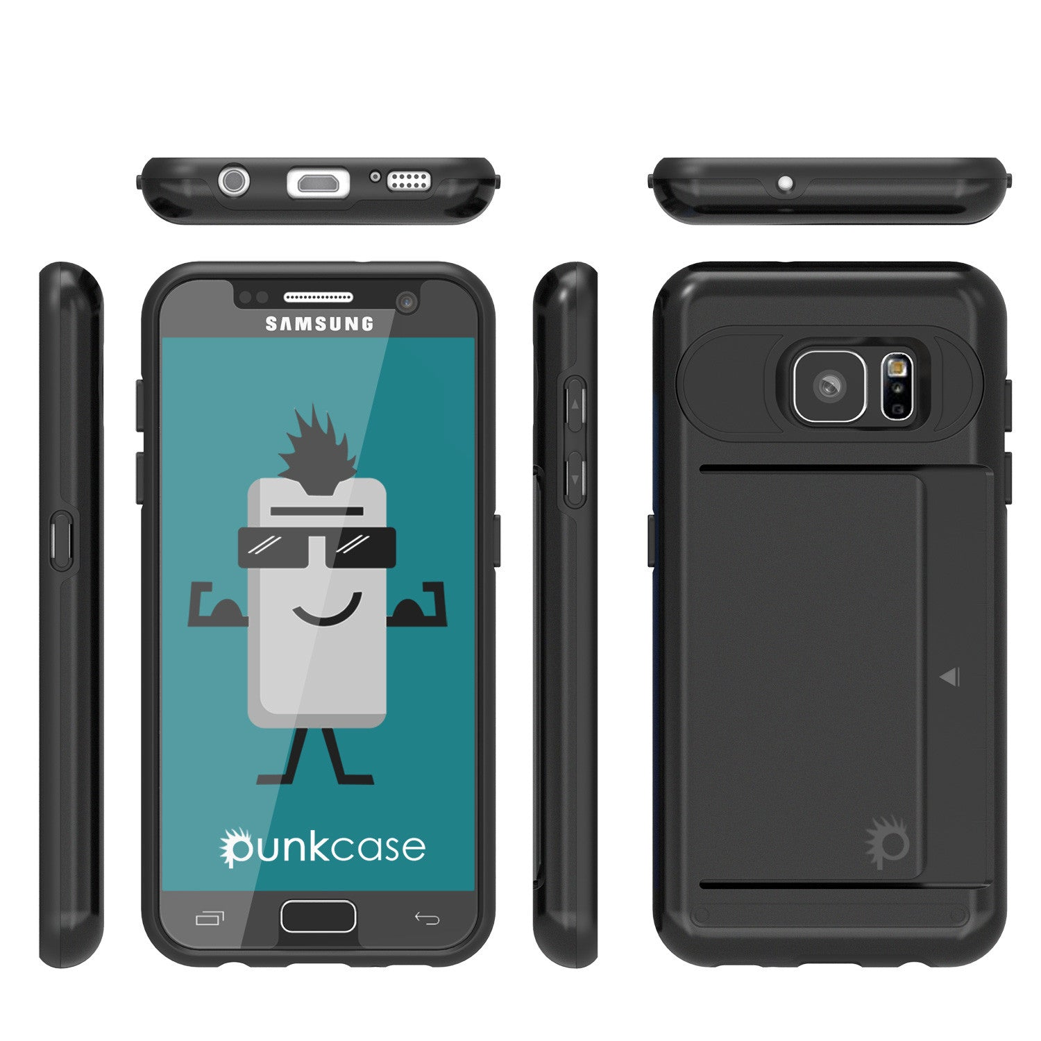 Galaxy s7 Case PunkCase CLUTCH Black Series Slim Armor Soft Cover Case w/ Tempered Glass