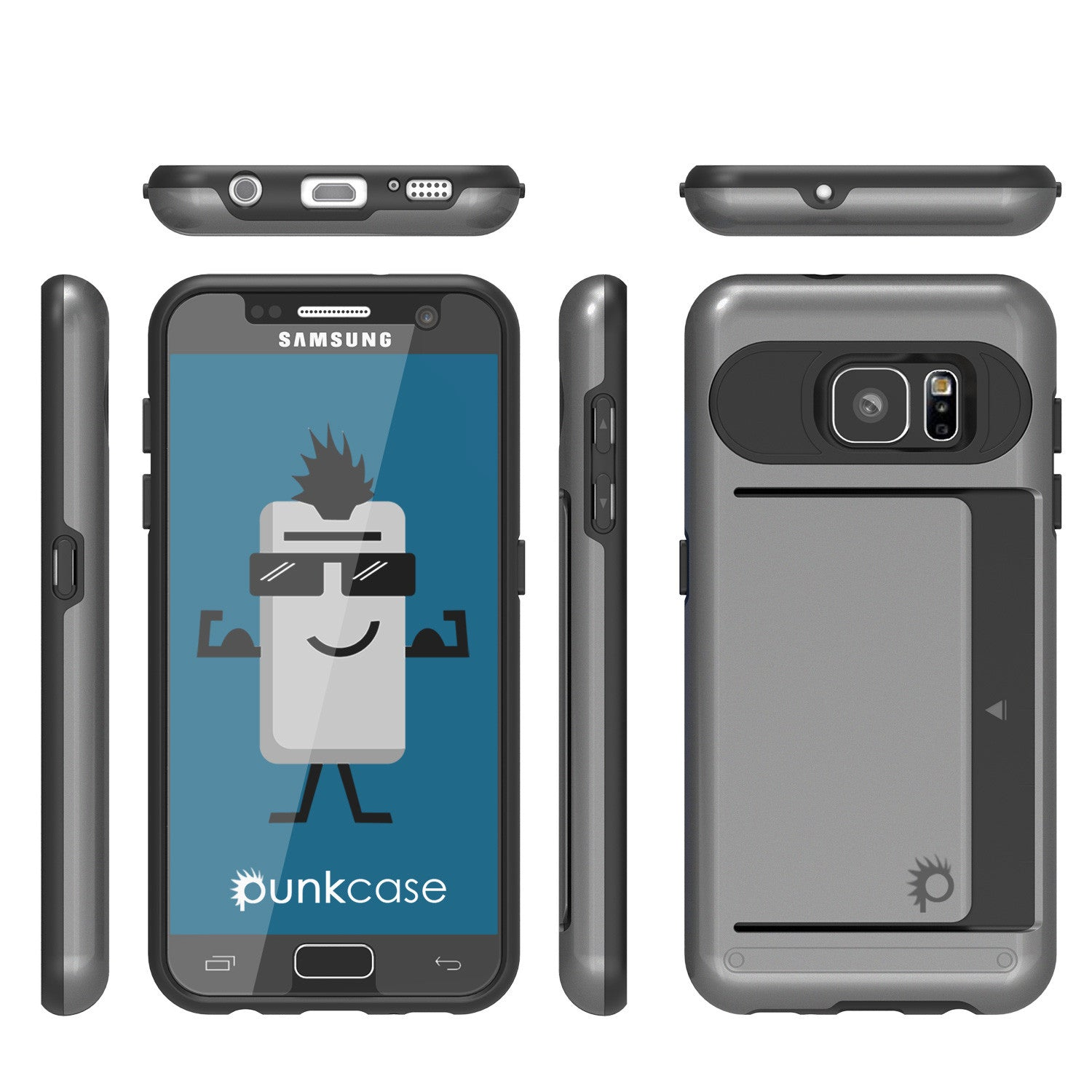 Galaxy s7 Case PunkCase CLUTCH Grey Series Slim Armor Soft Cover Case w/ Tempered Glass