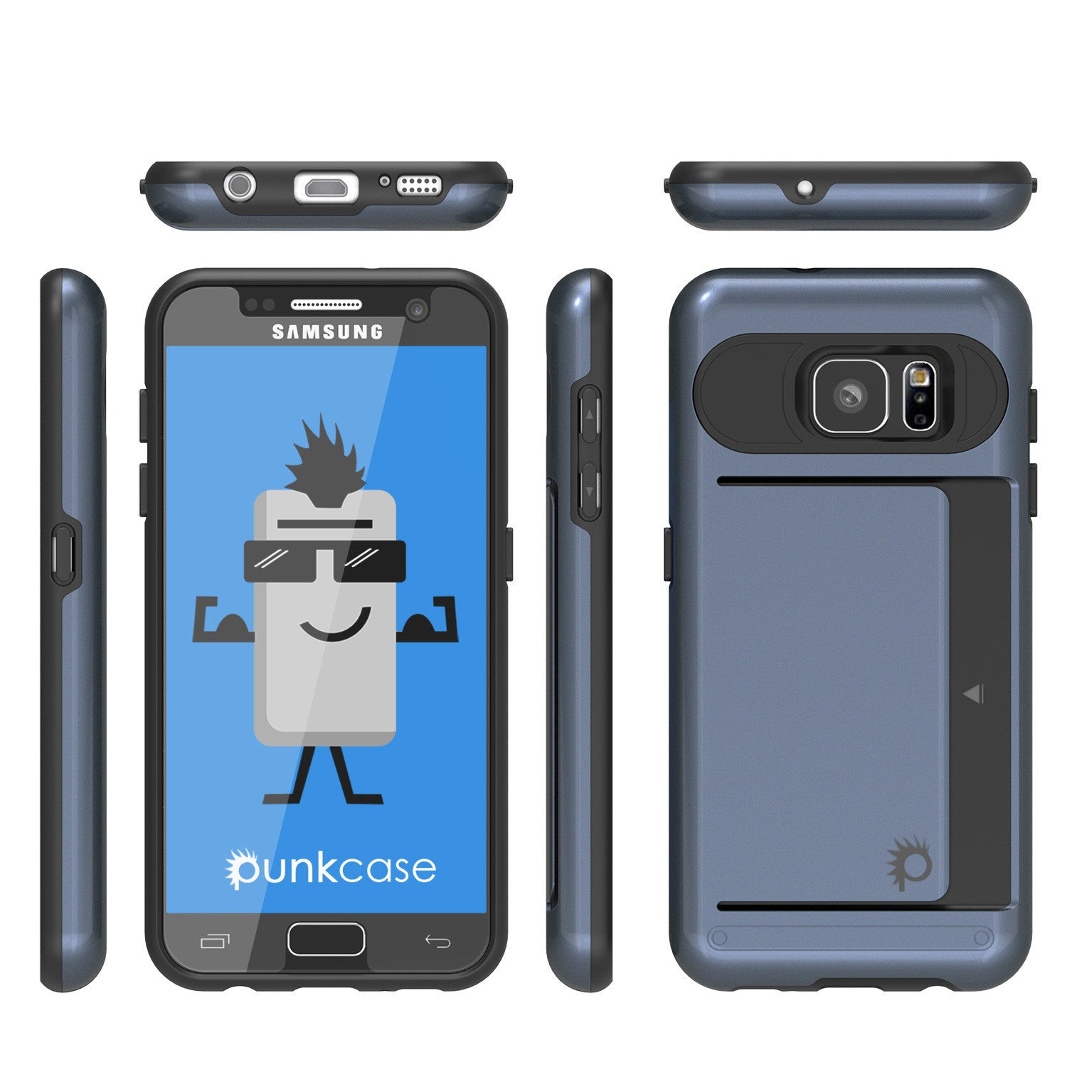 Galaxy Note 5 Case PunkCase CLUTCH Navy Series Slim Armor Soft Cover Case w/ Tempered Glass