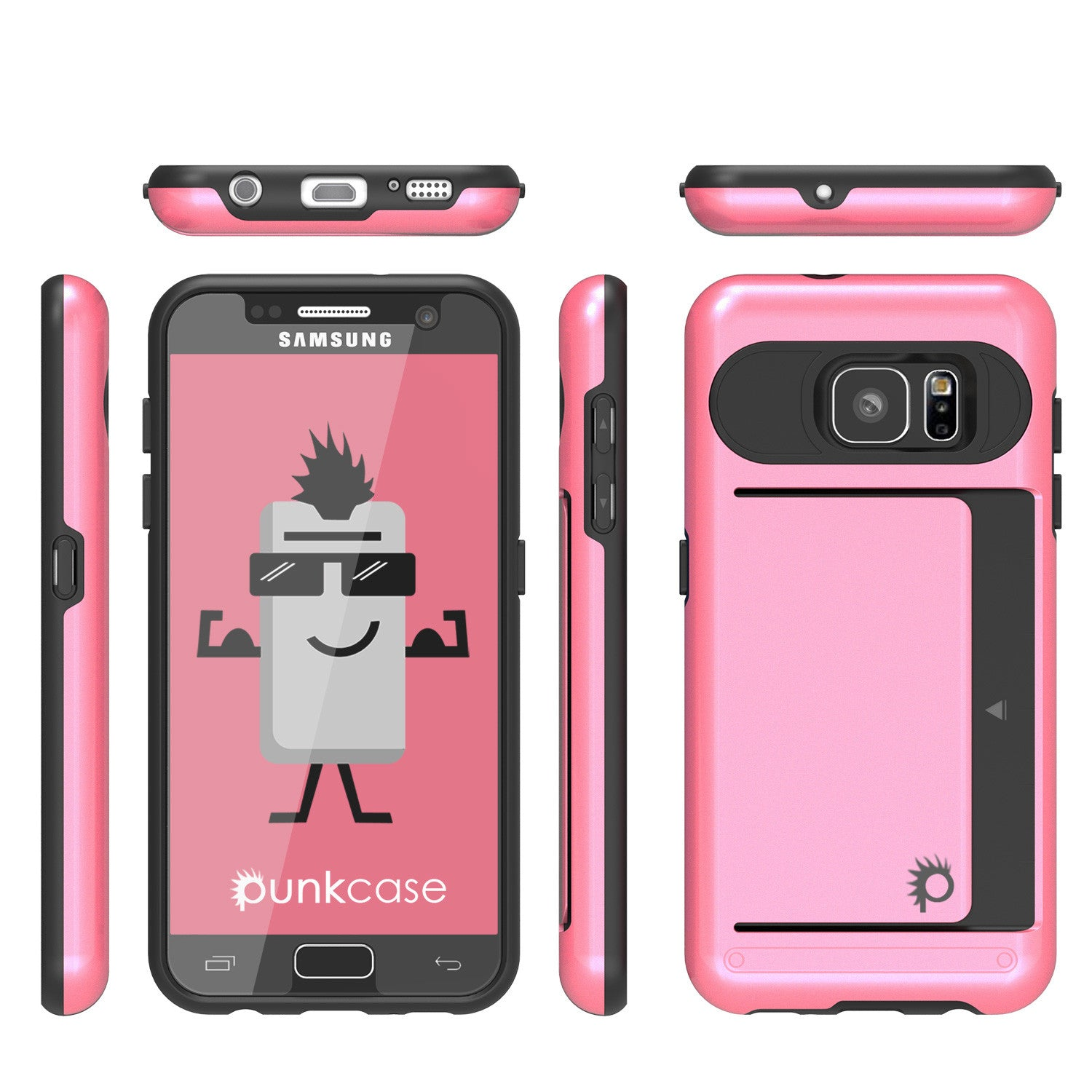 Galaxy s7 Case PunkCase CLUTCH Pink Series Slim Armor Soft Cover Case w/ Tempered Glass