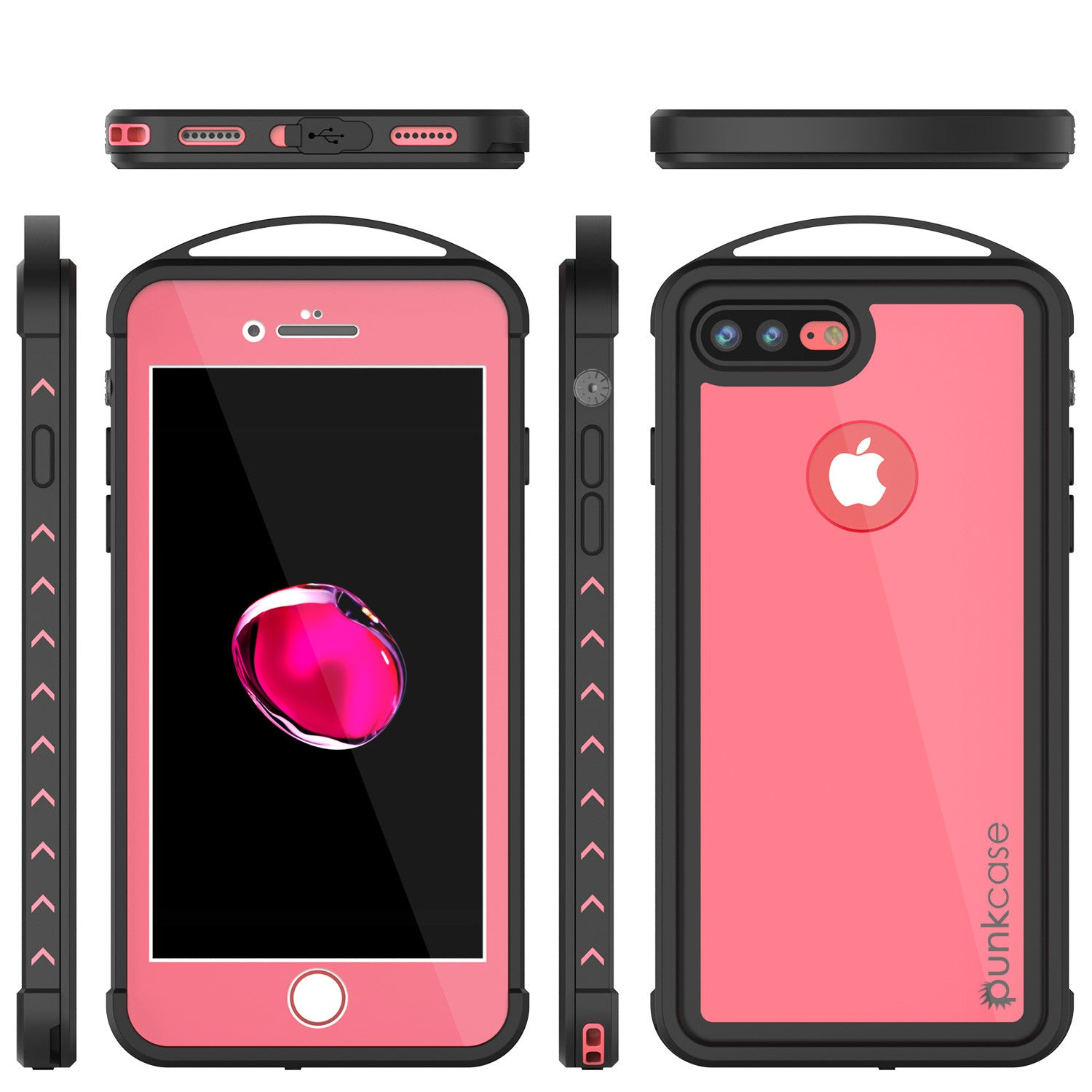 iPhone 7+ Plus Waterproof Case, Punkcase ALPINE Series, Pink | Heavy Duty Armor Cover