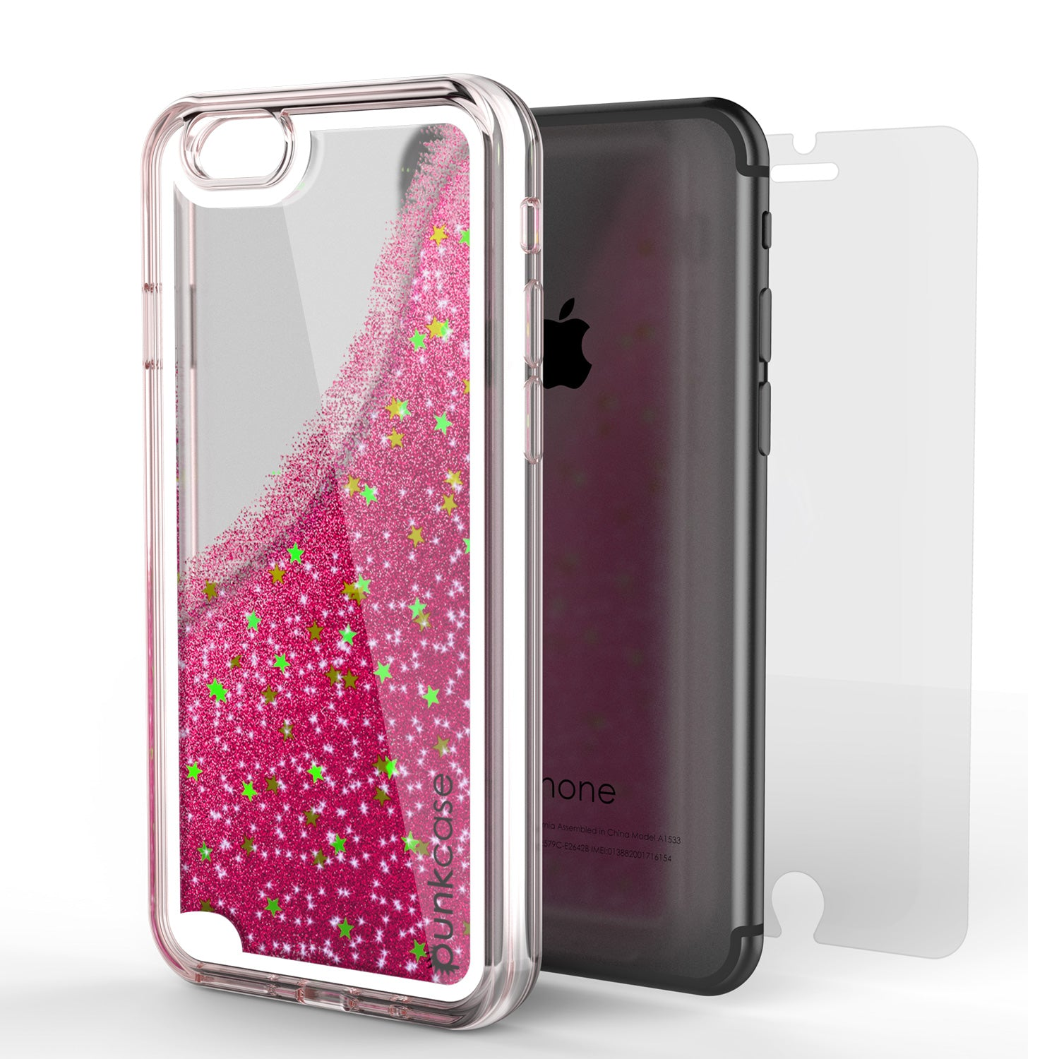 iPhone 7 Case, PunkCase LIQUID Pink Series, Protective Dual Layer Floating Glitter Cover