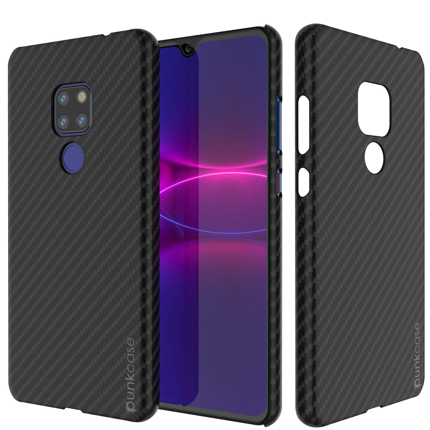 Huawei Mate 20 Case, Punkcase CarbonShield, Heavy Duty [Black] Cover