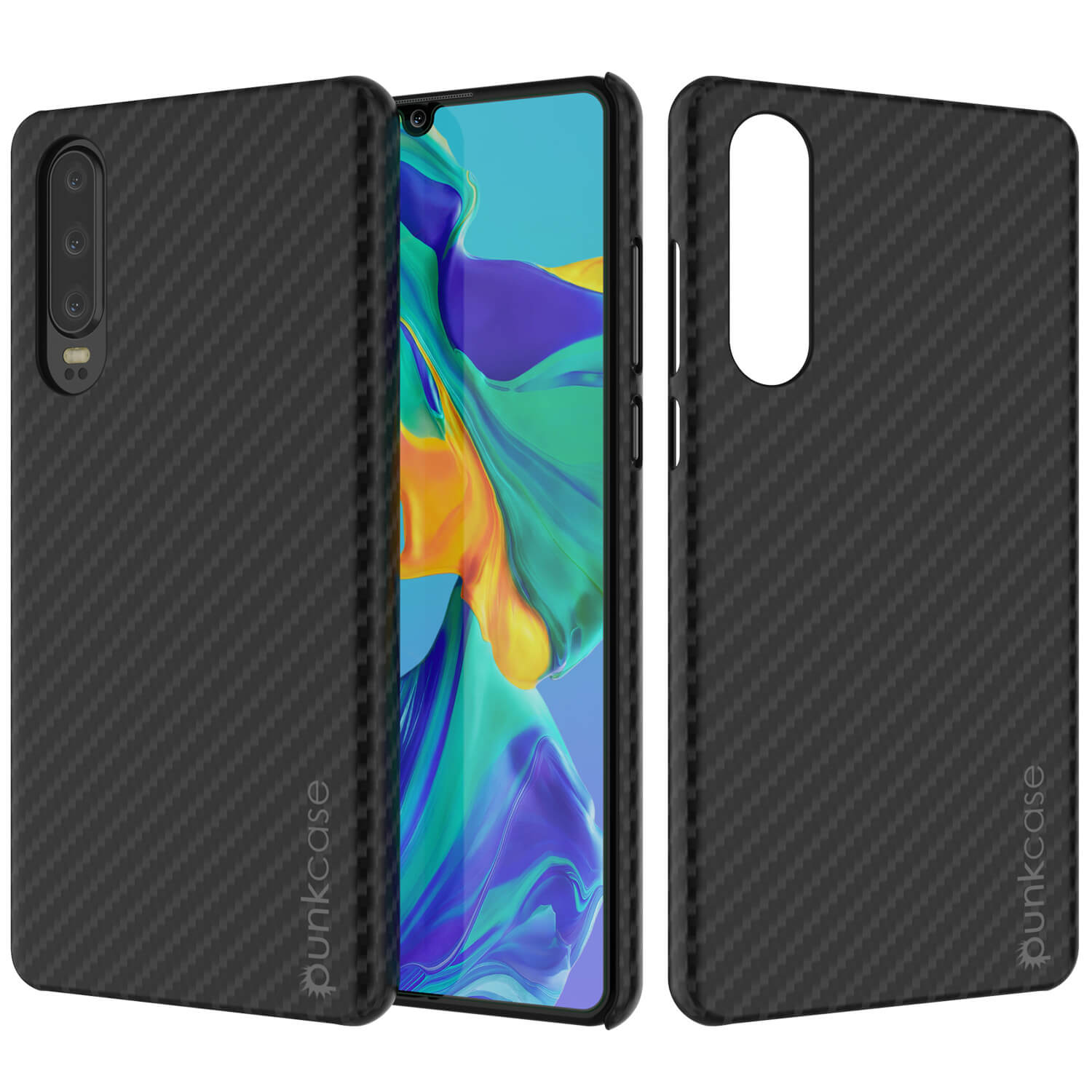 Huawei Mate 30  Case, Punkcase CarbonShield, Heavy Duty [Black] Cover