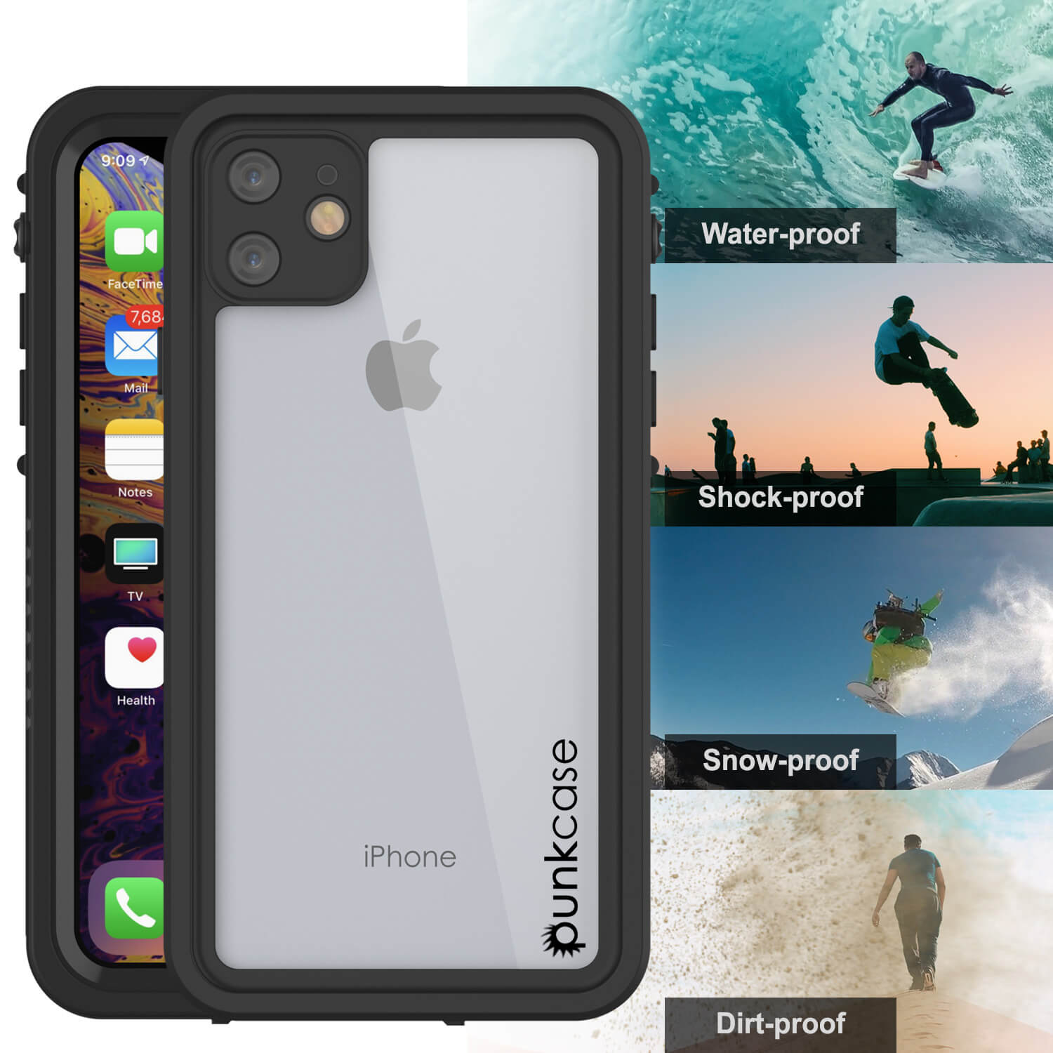 iPhone 11 Waterproof Case, Punkcase [Extreme Series] Armor Cover W/ Built In Screen Protector [Black]
