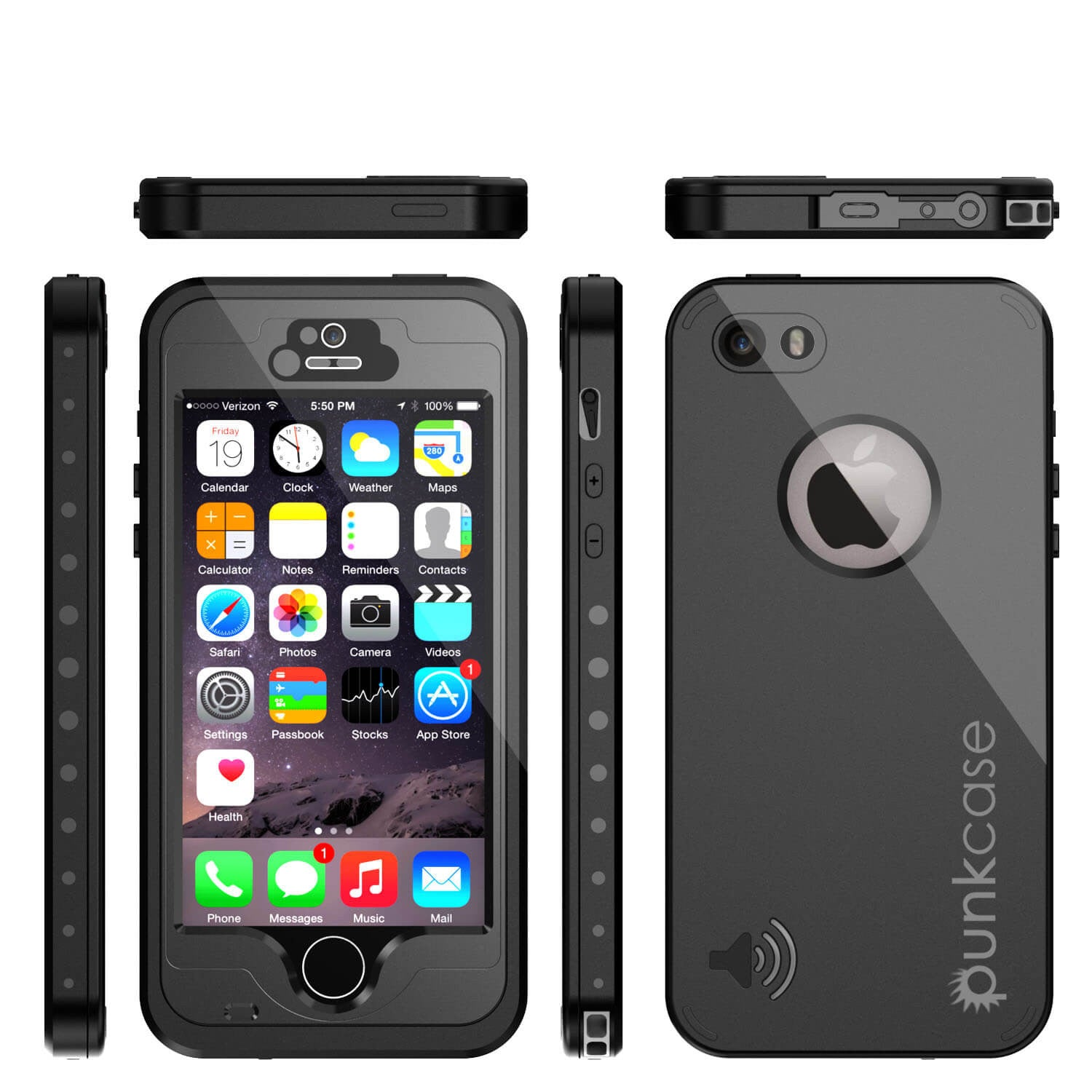 iPhone 5S/5 Waterproof Case, PunkCase StudStar Black Case Water/Shock/Dirt Proof | Lifetime Warranty